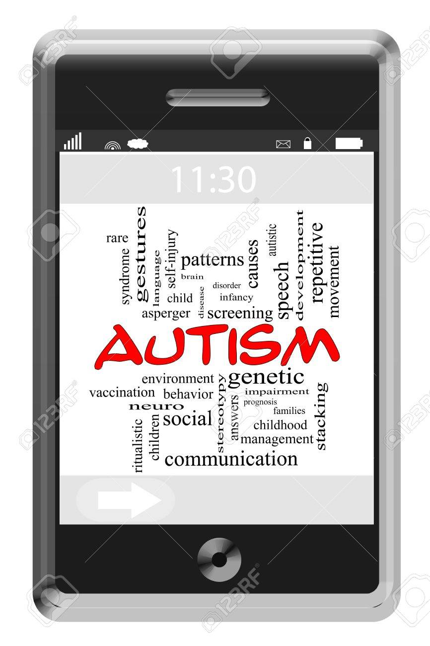 Autism Word Cloud Concept of Touchscreen Phone with great terms such as disease, neuro, treatment and more. Stock Photo - 17685739