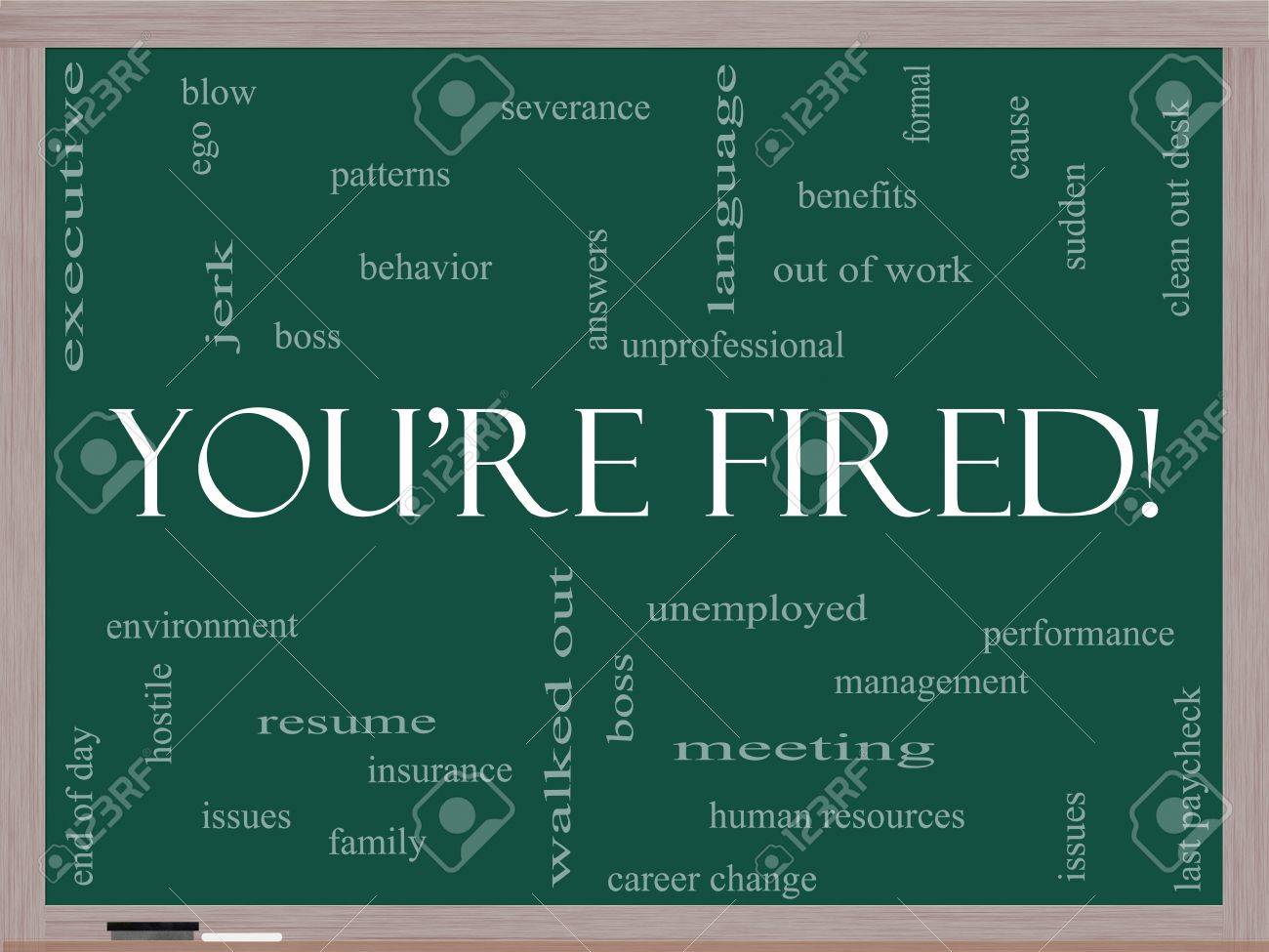 resume Fired Resume youre fired word cloud concept on a blackboard with great terms such as boss