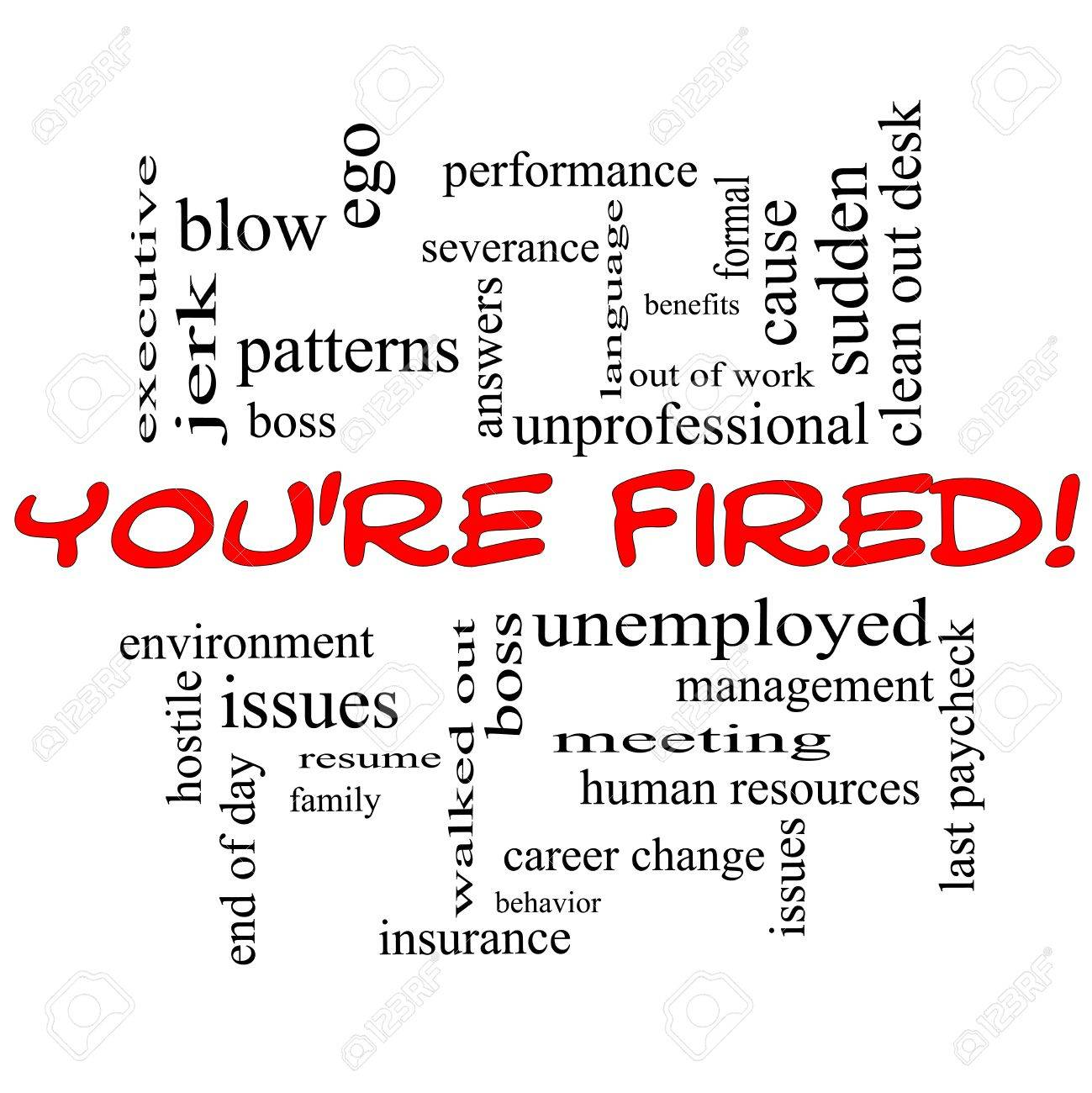 youre fired word cloud concept in red caps with great terms such as boss - Terms For Resume
