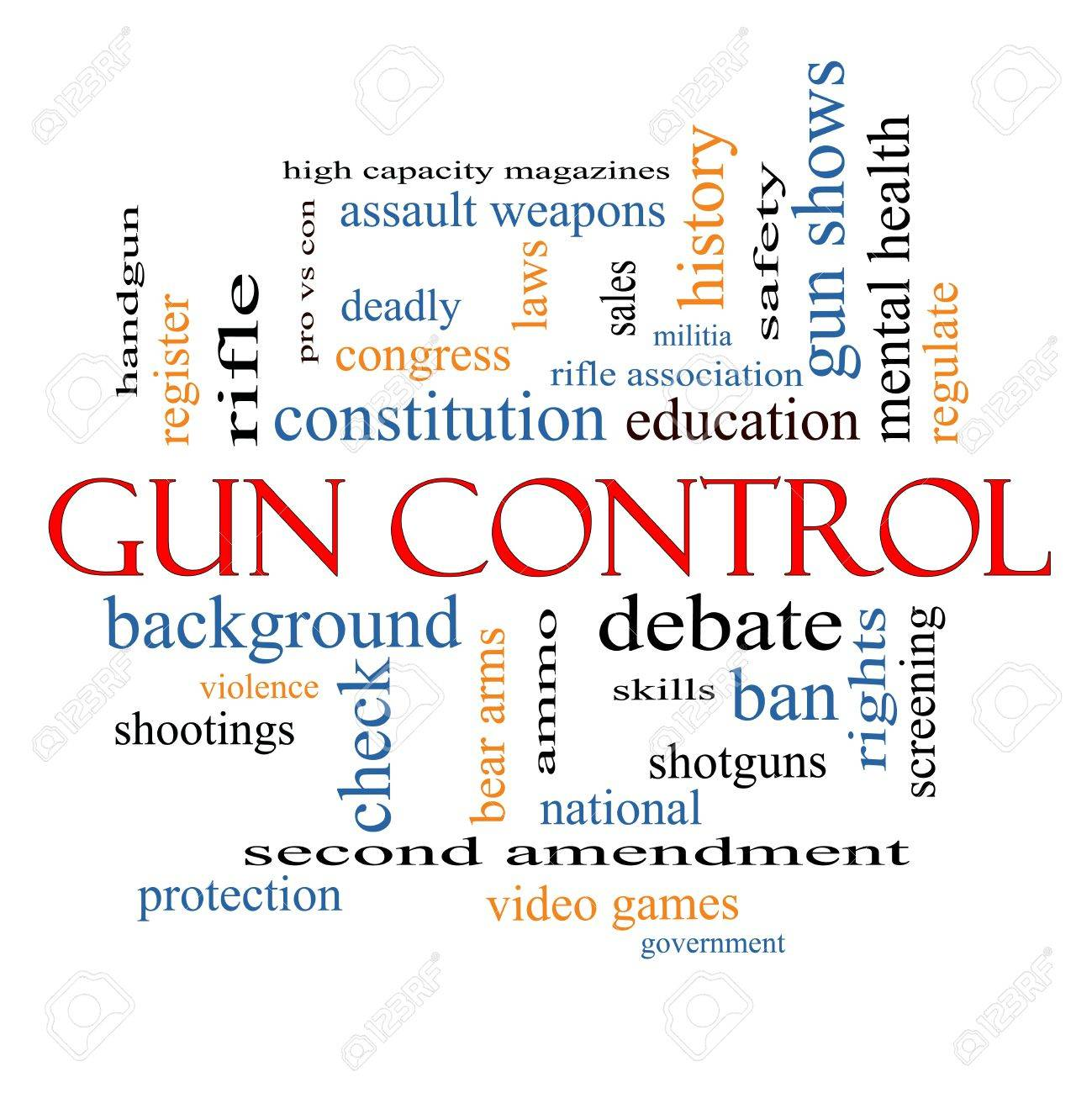 gun control word cloud concept with great terms such as second