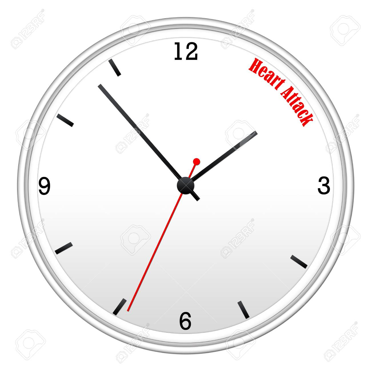 Heart Attack Concept On A White Wall Clock With Hour Minutes