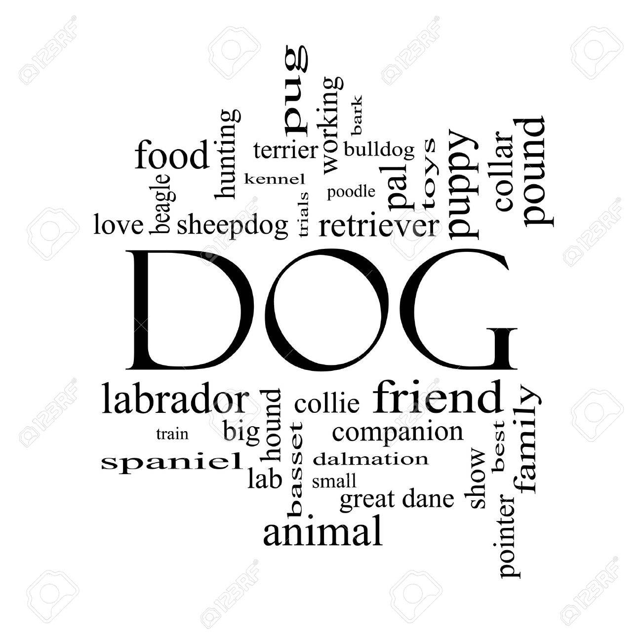 Dog Word Cloud Concept in black and white with great terms such as love, friend, best, hound and more. Stock Photo - 17996190