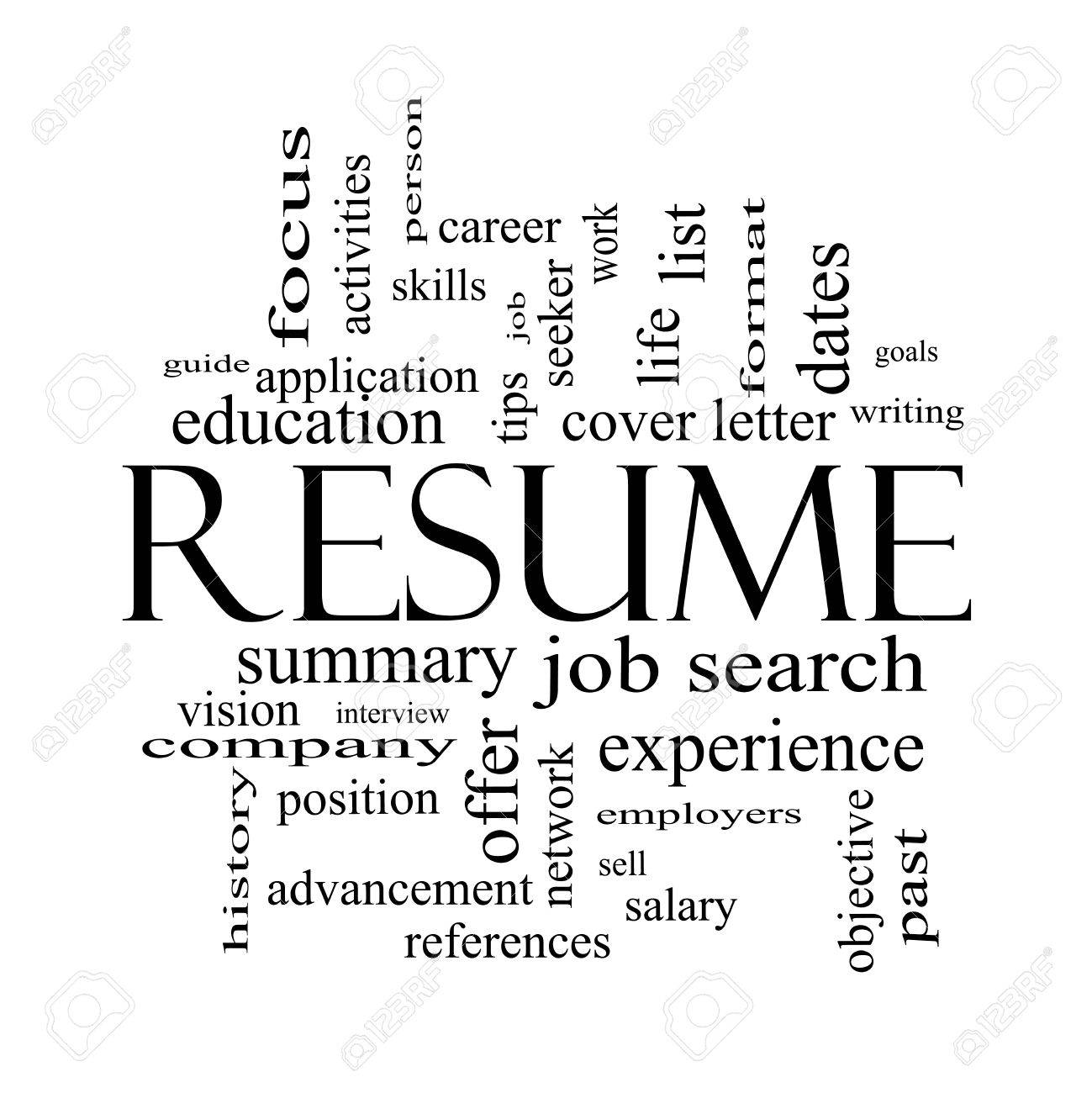 Resume Word Cloud Concept In Black And White With Great Terms – Resume in Word