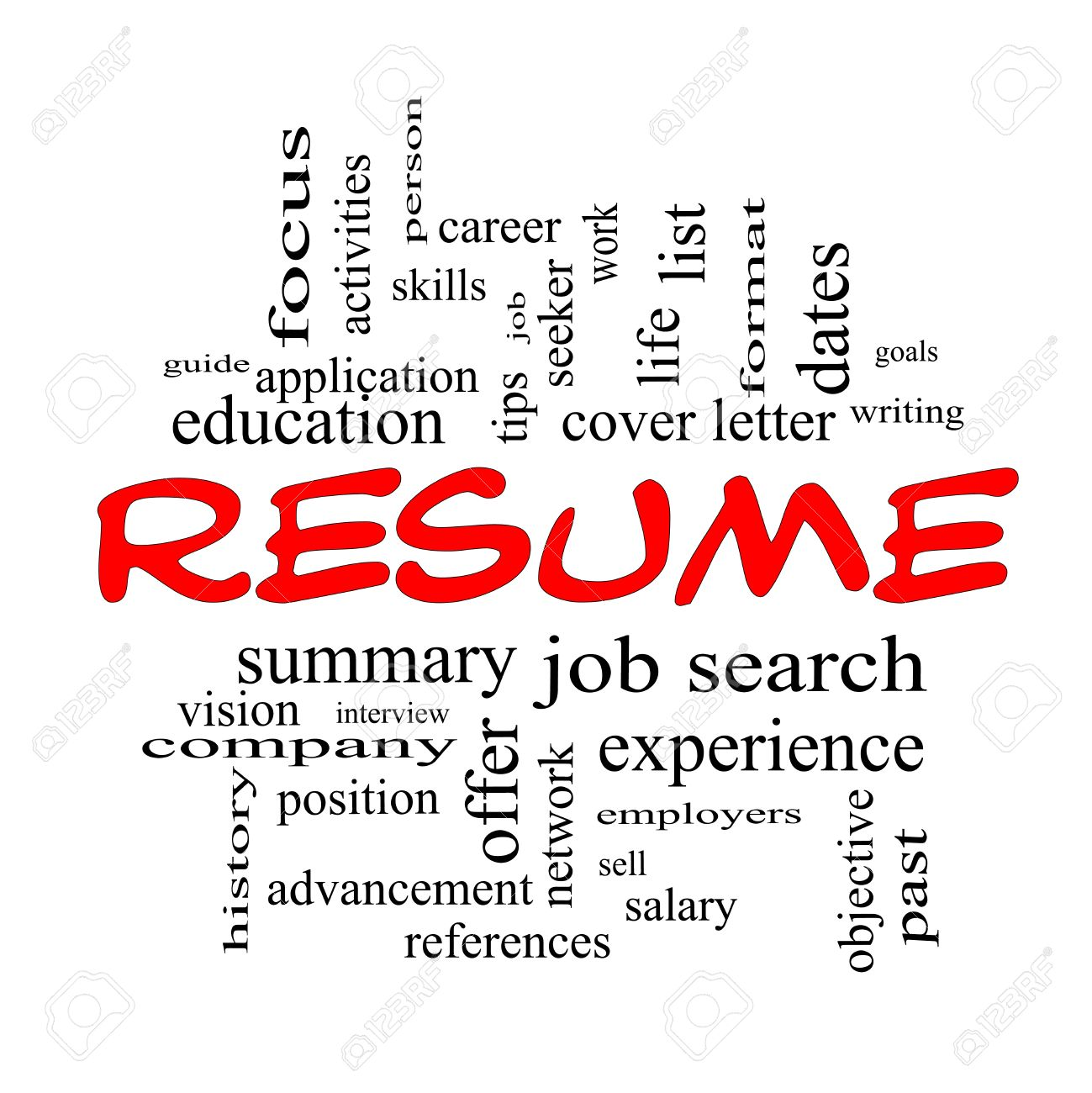 resume word cloud concept in red caps with great terms such as career job search