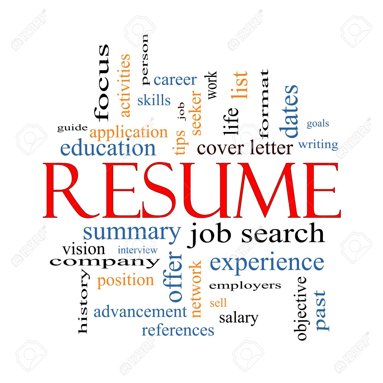 Resume Word Cloud Concept With Great Terms Such As Career, Job ...