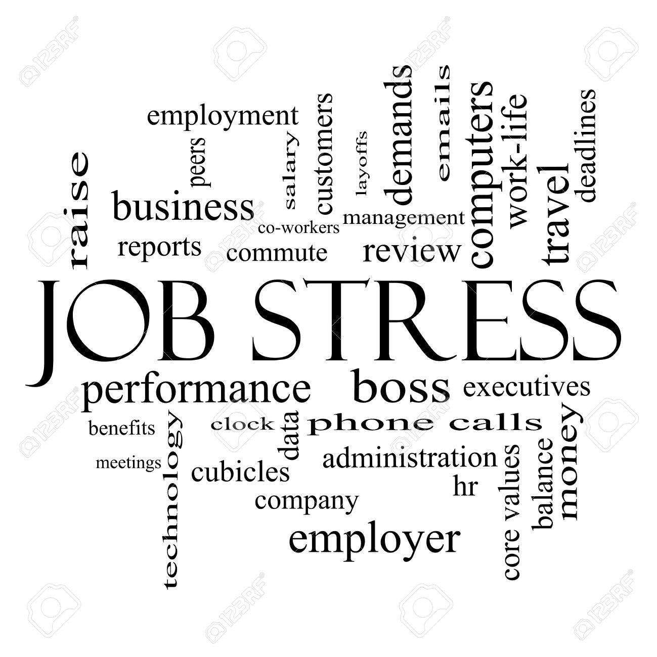 job stress word cloud concept in black and white great terms job stress word cloud concept in black and white great terms such as boss