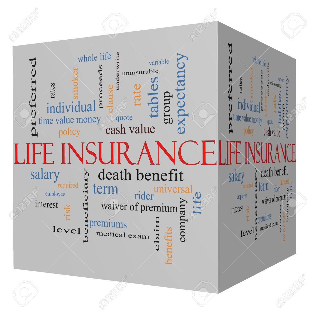 Whole Term Life Insurance Quotes Life Insurance Word Cloud Concept On A 3D Cube With Great Terms