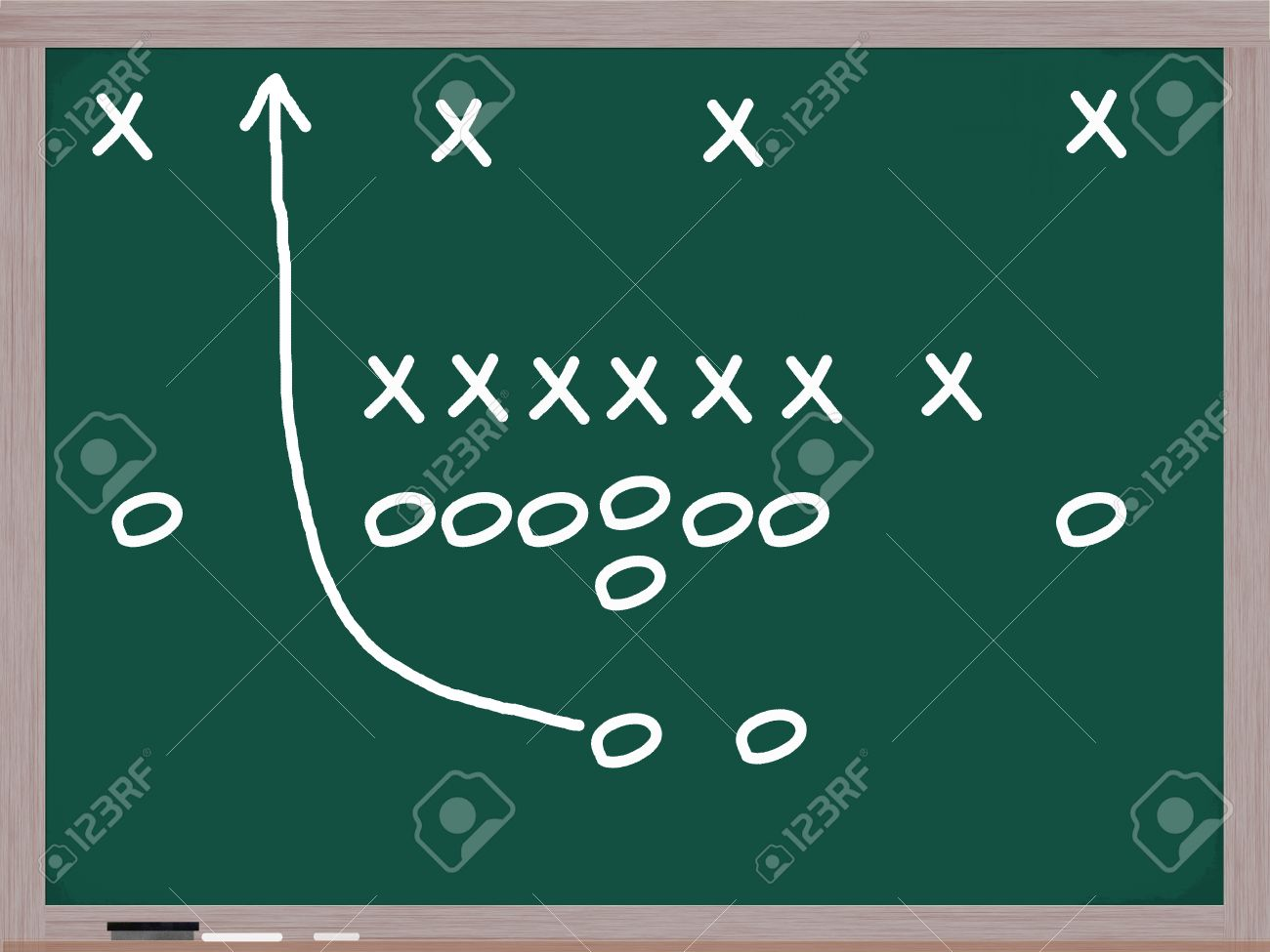 Football Play On A Chalkboard With Diagrams Of Xs And Os To Denote Players Stock
