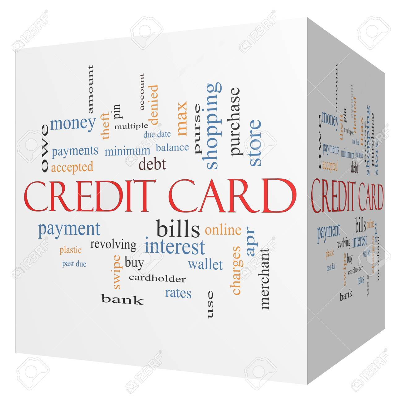 credit card 3d cube word cloud concept with great terms such stock
