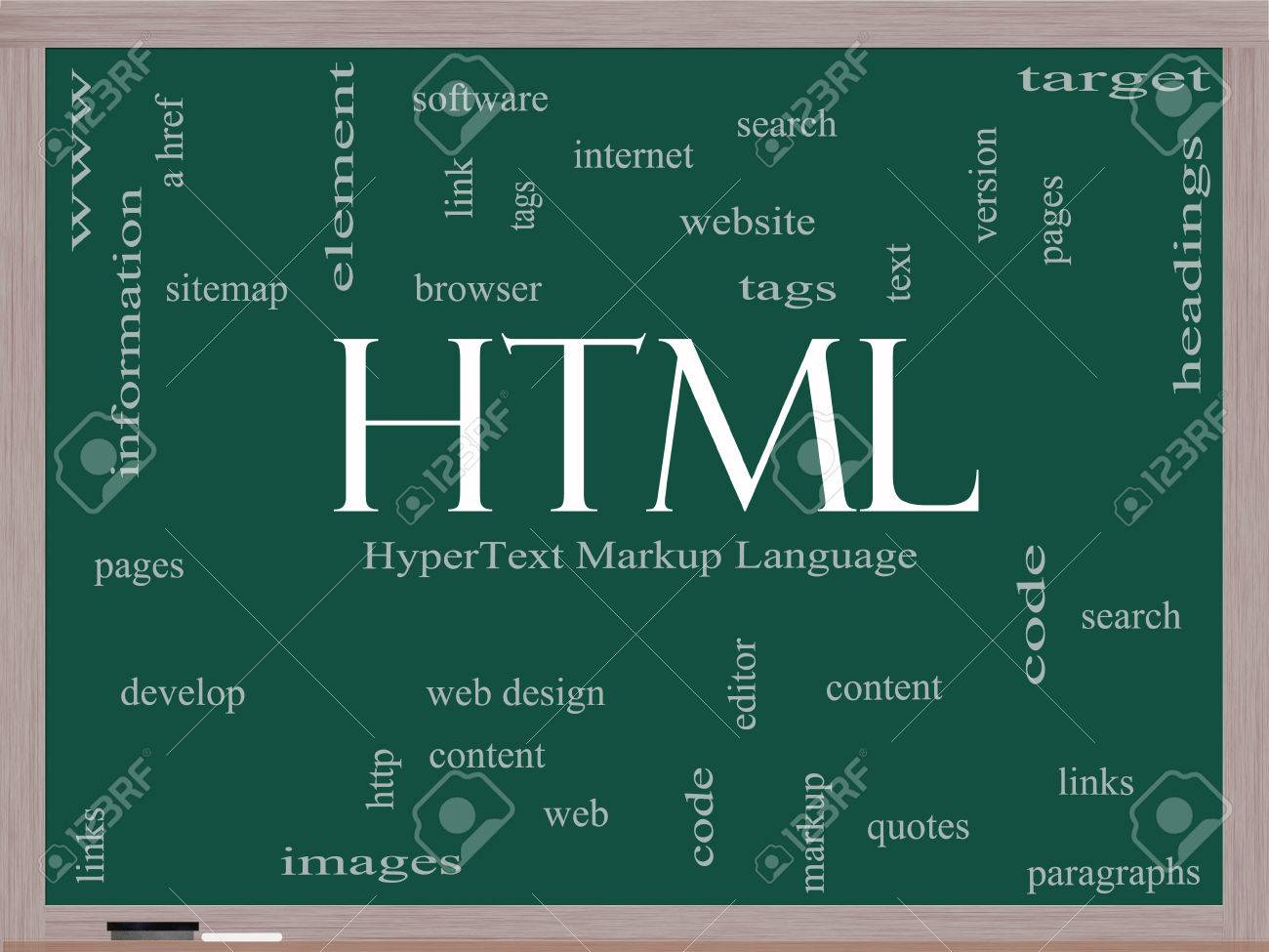 HTML Word Cloud Concept on a Blackboard with great terms such as hyper, text, language, code and more. Stock Photo - 24979770