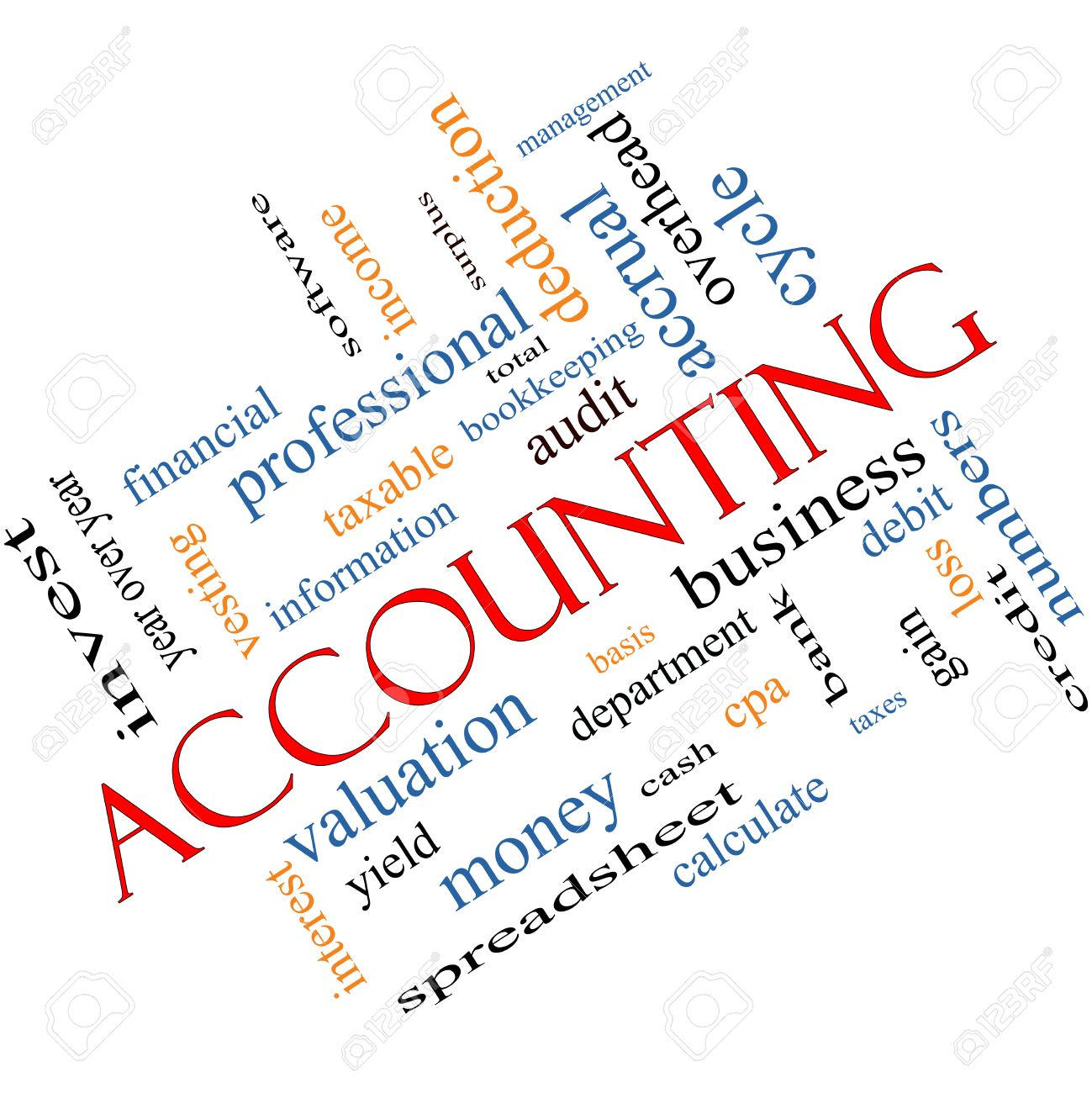 Accounting Word Cloud Concept Angled With Great Terms Such As ...