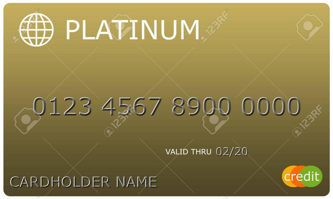 4fa1d65824a90 Foto de archivo - Una imitación platino oro tarjeta de crédito con números  y válida hasta la fecha de gran uso en un concepto.