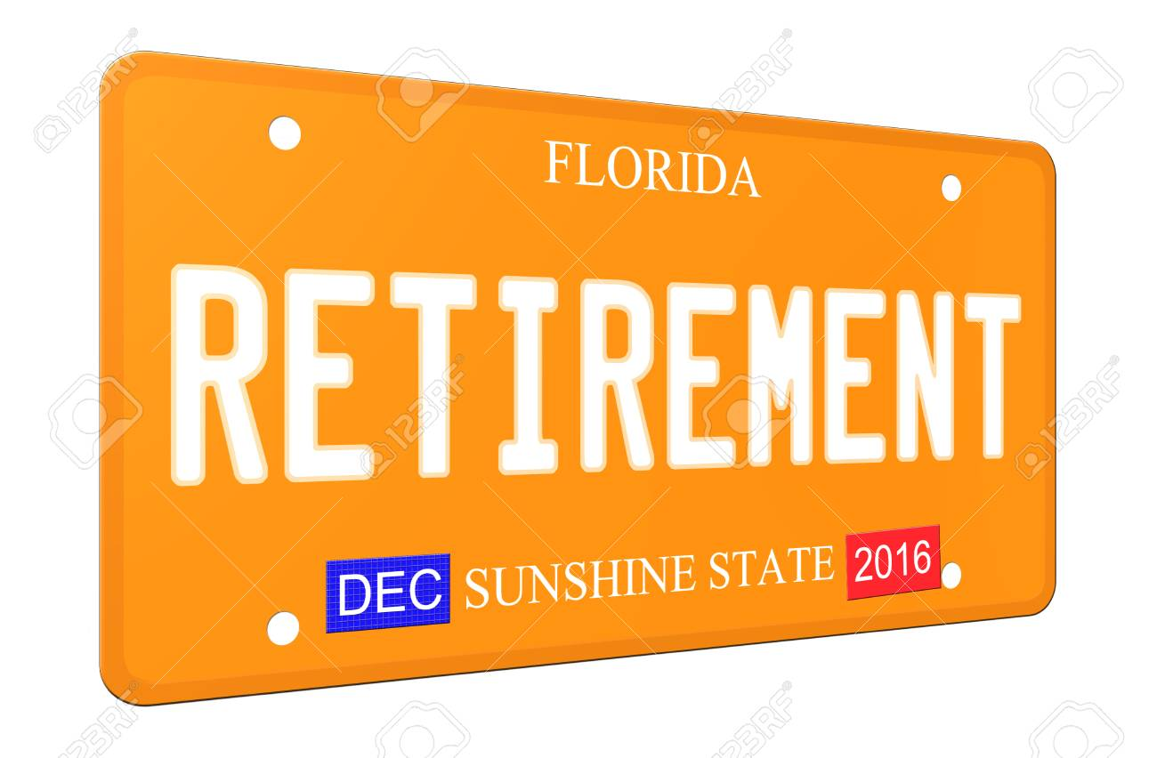 An Imitation 3d Retirement Florida License Plate Complete With