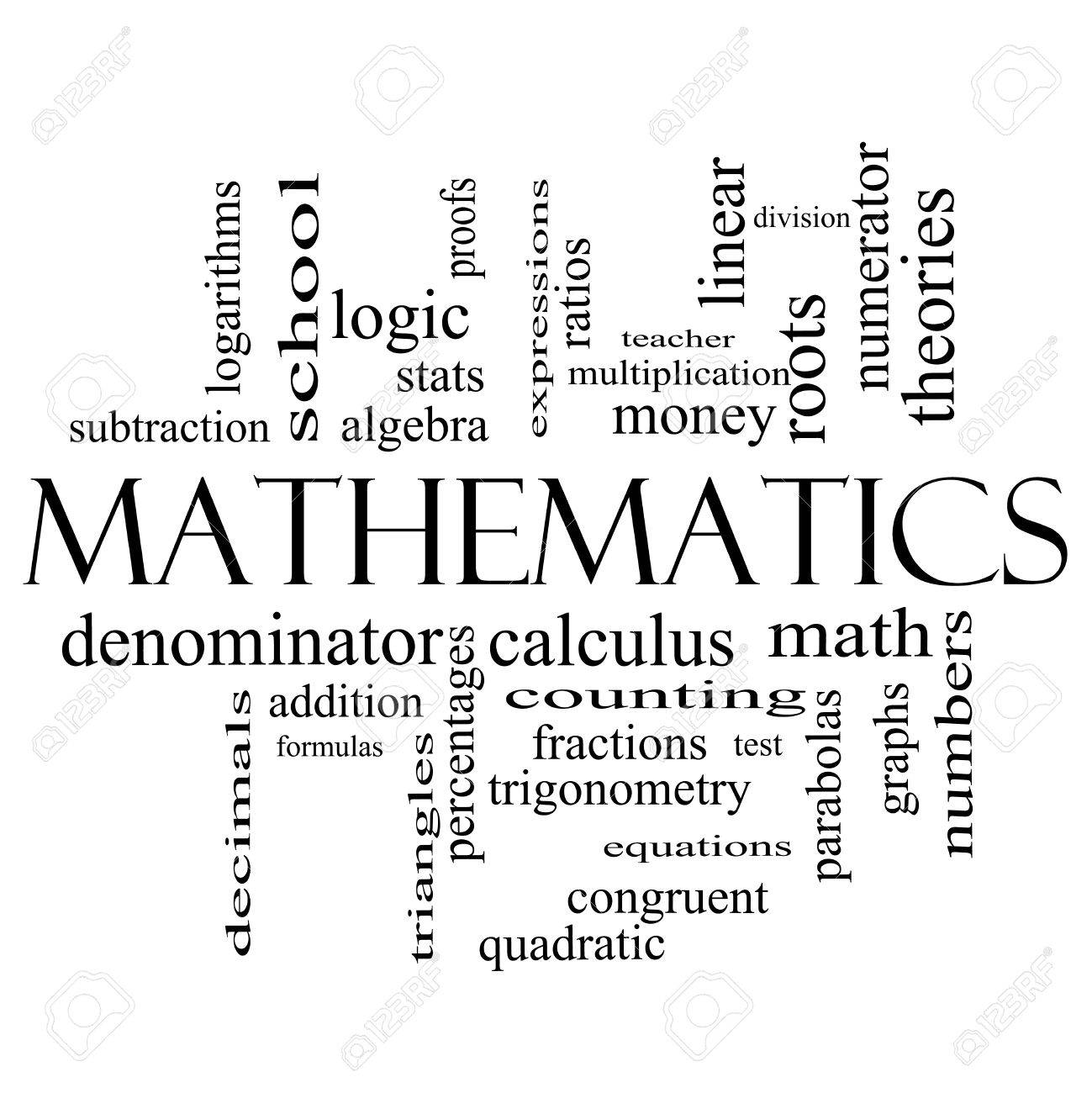 Mathematics Word Cloud Concept In Black And White With Great ...