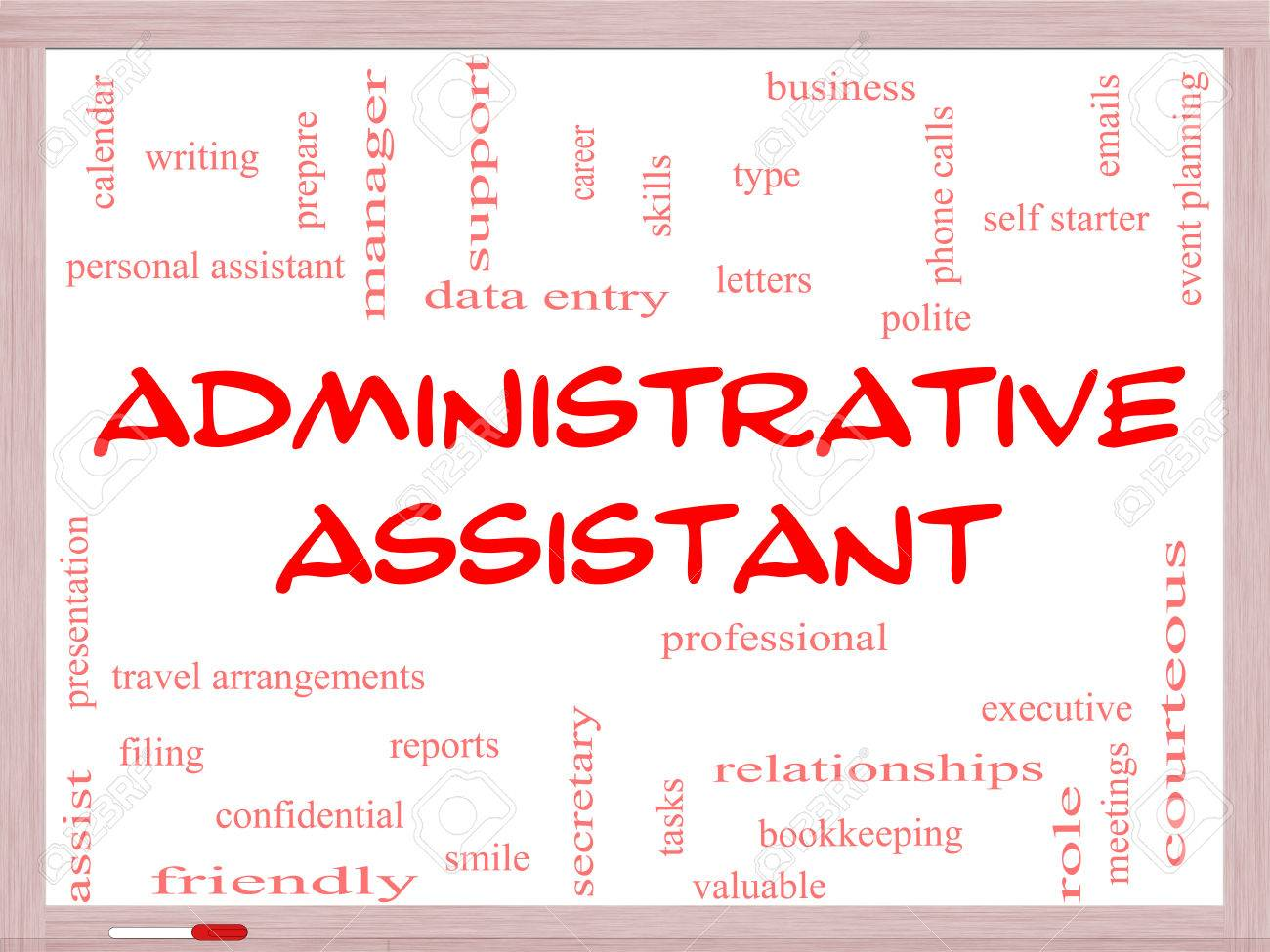 administrative assistant word cloud concept on a whiteboard administrative assistant word cloud concept on a whiteboard great terms such as professional secretary
