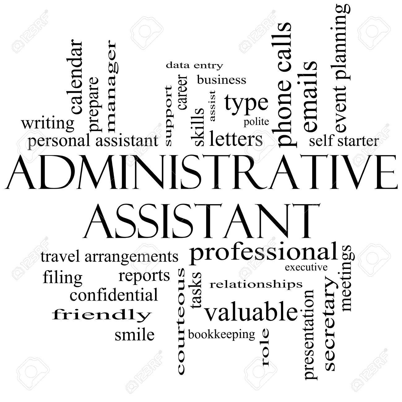 administrative assistant word cloud concept in black and white stock photo administrative administrative assistant
