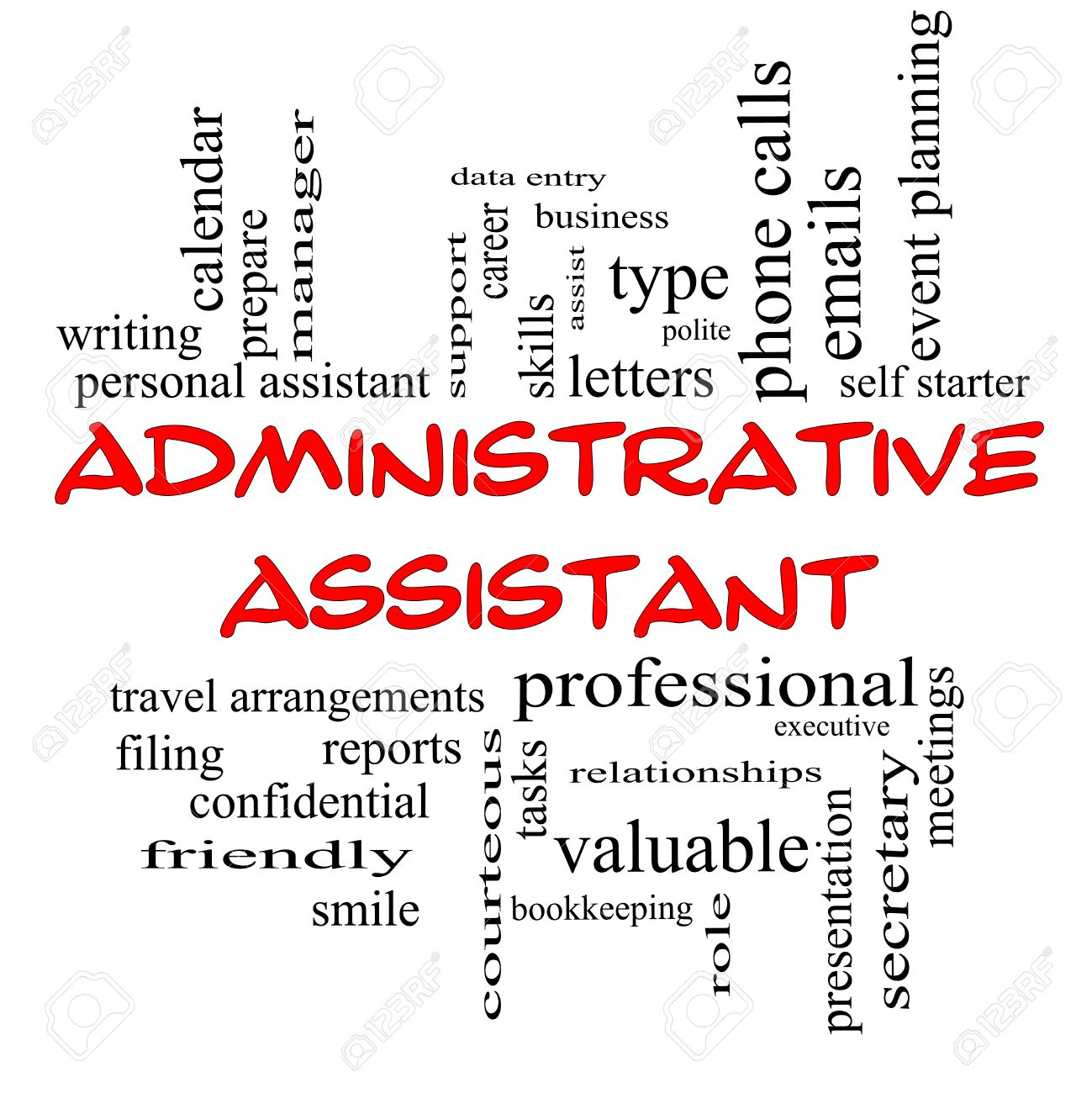 Administrative Assistant Word Cloud Concept In Red Caps With Great Terms  Such As Professional, Secretary  Administrative Assistant