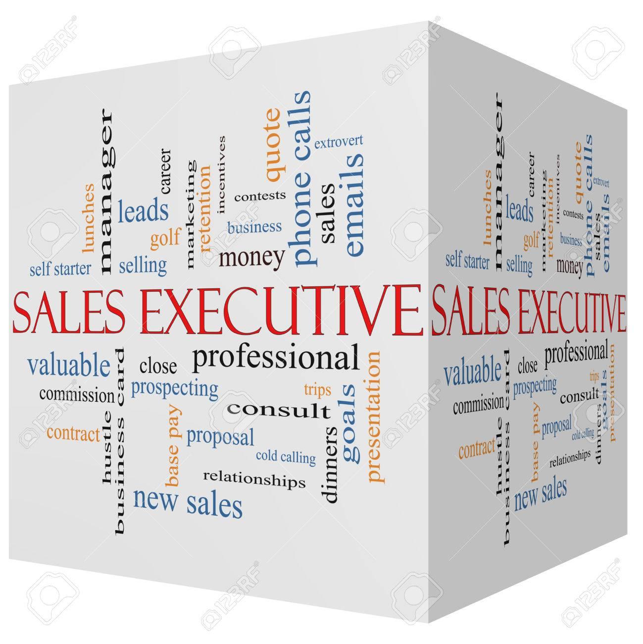 Sales Executive 3d Würfel Word Wolke Konzept Mit Großer Begriffe Wie