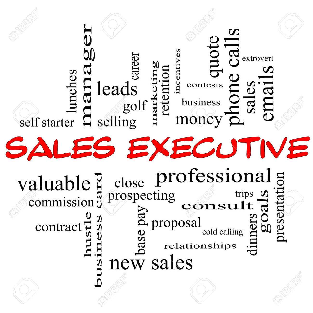 Sales Executive Word Wolke Konzept In Roten Kappen Mit Großer