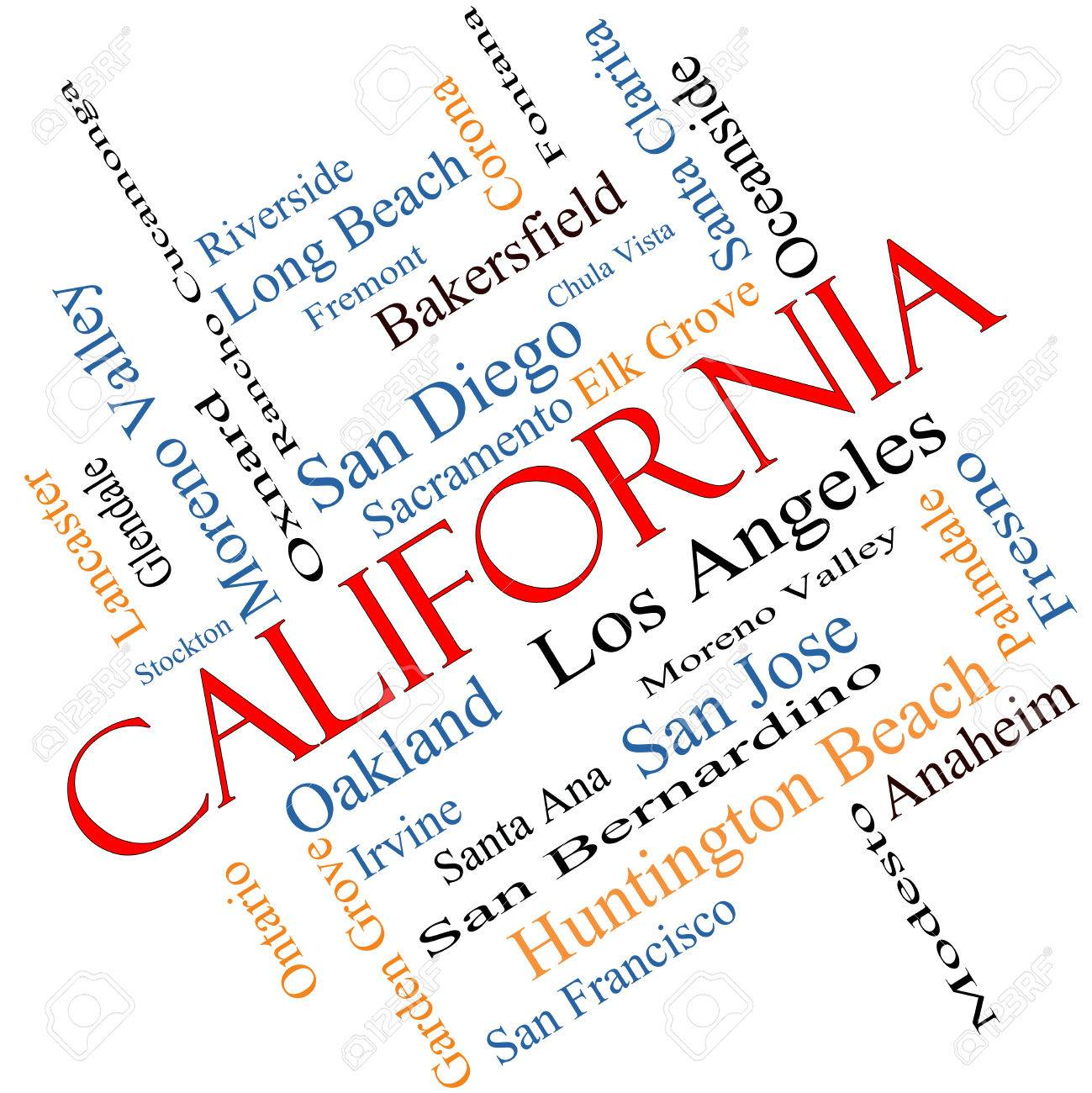 Th the largest city in california - California State Word Cloud Concept Angled With About The 30 Largest Cities In The State Such