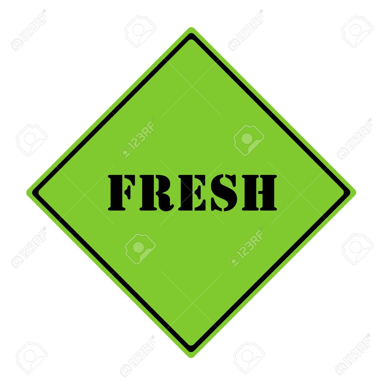 a green and black diamond shaped road sign with the word fresh making a great concept