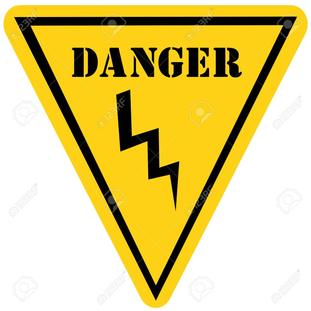 A yellow and black triangle shaped road sign with the word danger a yellow and black triangle shaped road sign with the word danger and a voltage lighting buycottarizona Images