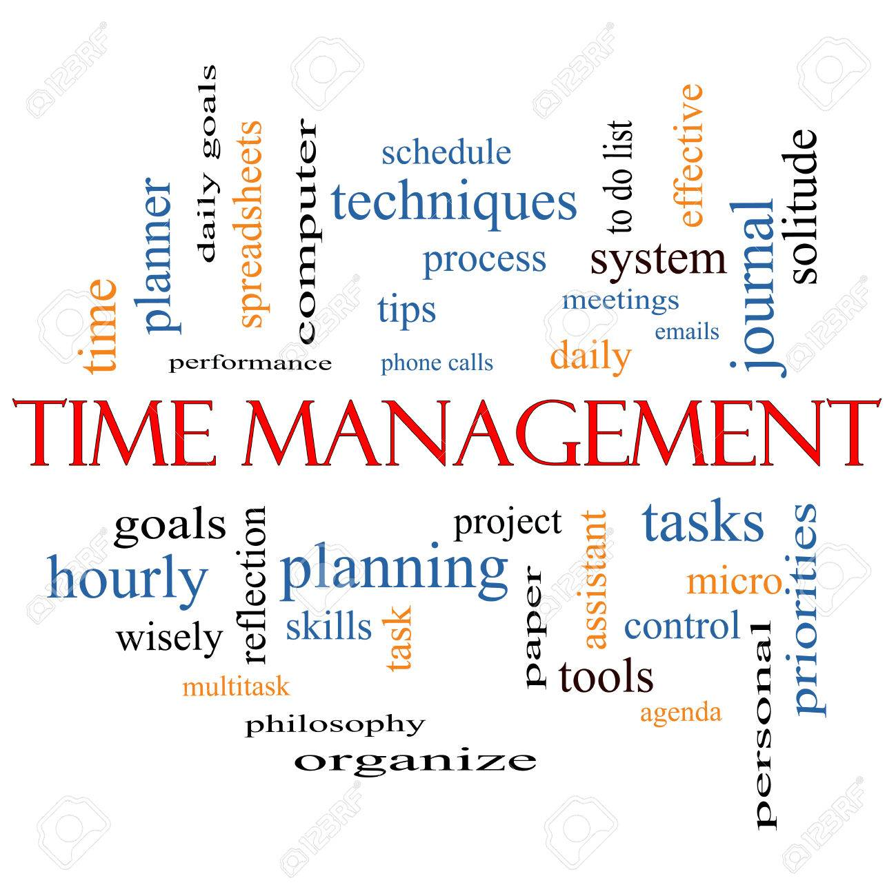 Time Management Word Cloud Concept With Great Terms Such As Daily ...