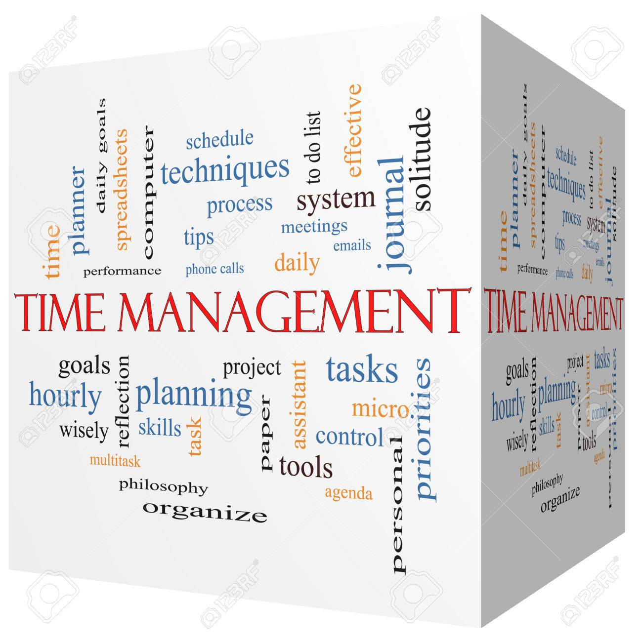 stock photo time management 3d cube word cloud concept with great terms such as daily tasks goals organize and more