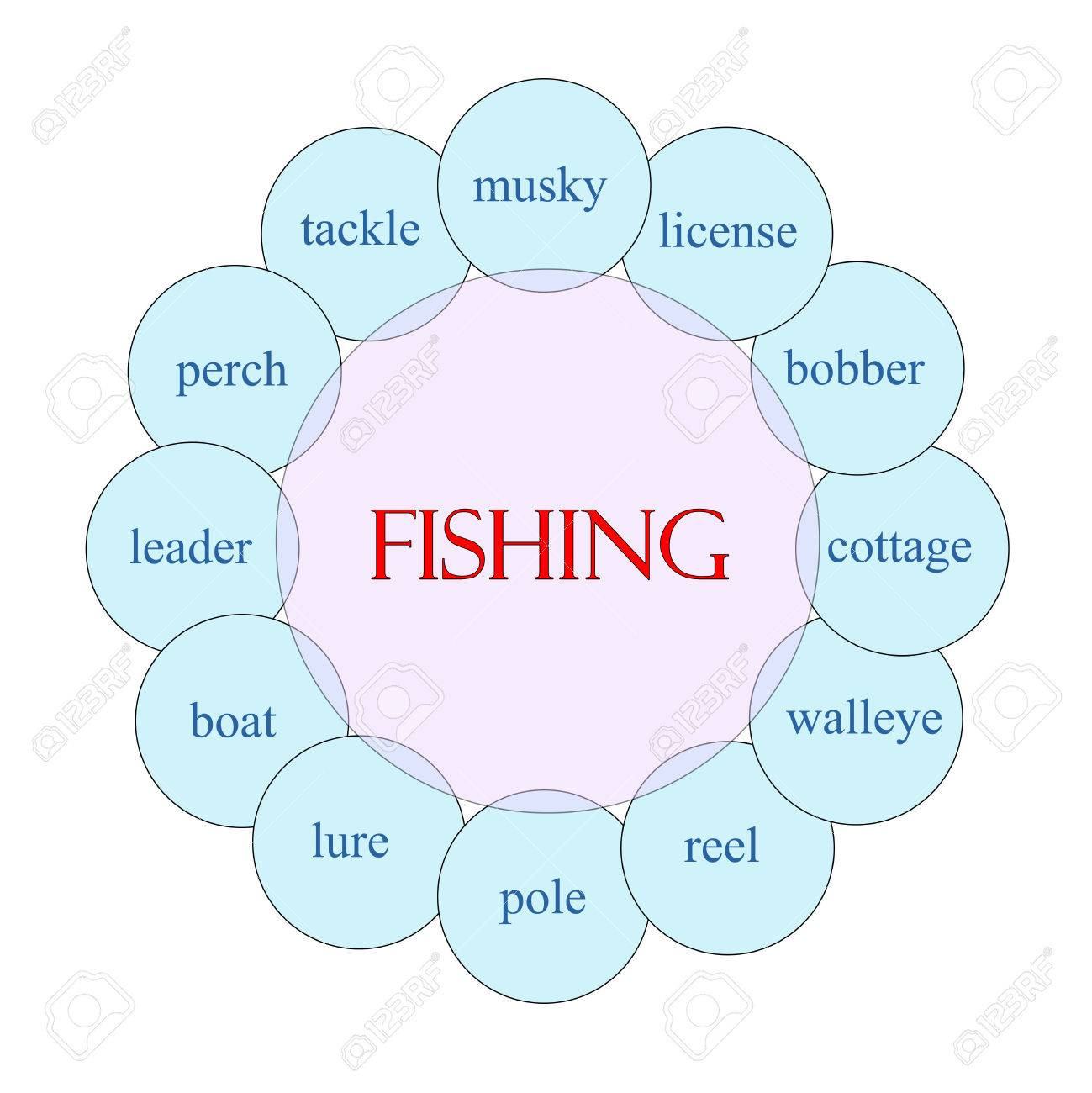26184760 fishing concept circular diagram in pink and blue with great terms such as musky license bobber and fishing concept circular diagram in pink and blue with great stock