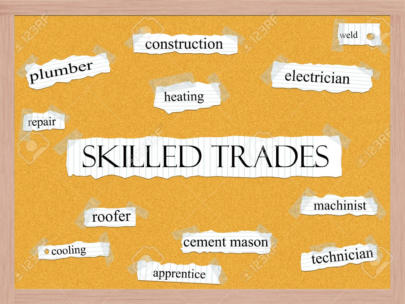 Skilled Trades Corkboard Word Concept with great terms such as
