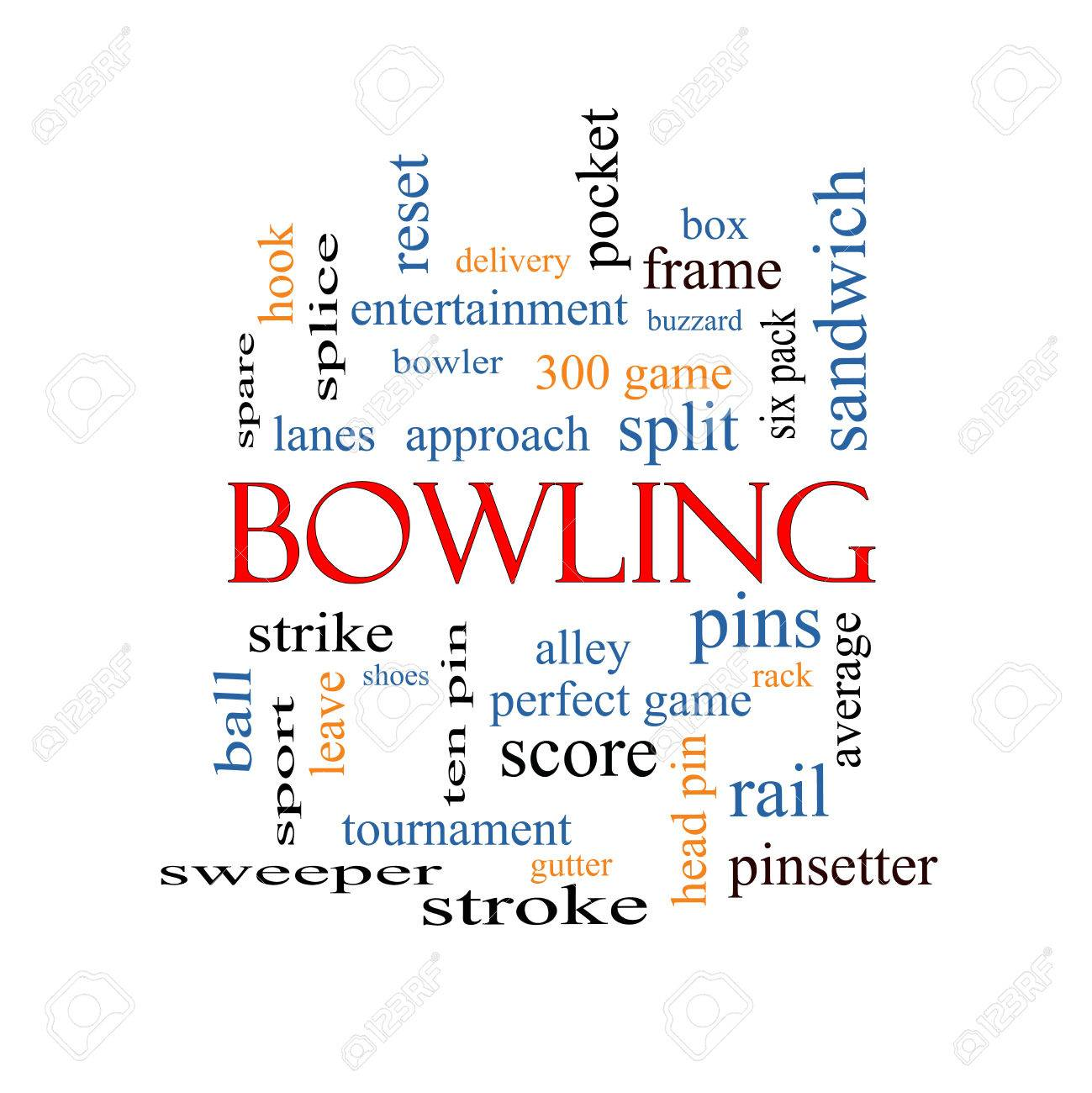 Bowling Word Cloud Concept With Great Terms Such As Frame, Strike ...