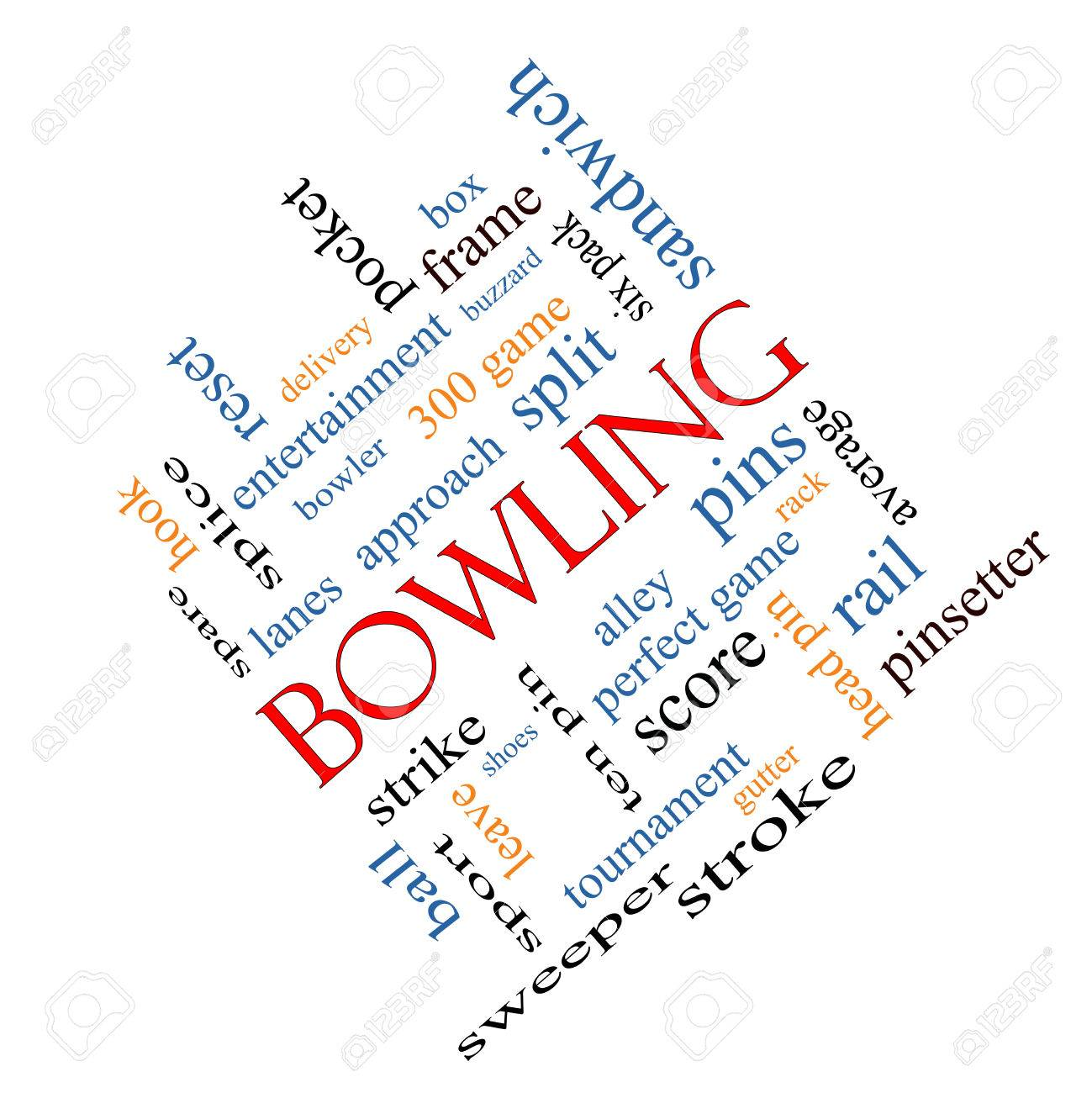 Bowling Word Cloud Concept angled with great terms such as frame,