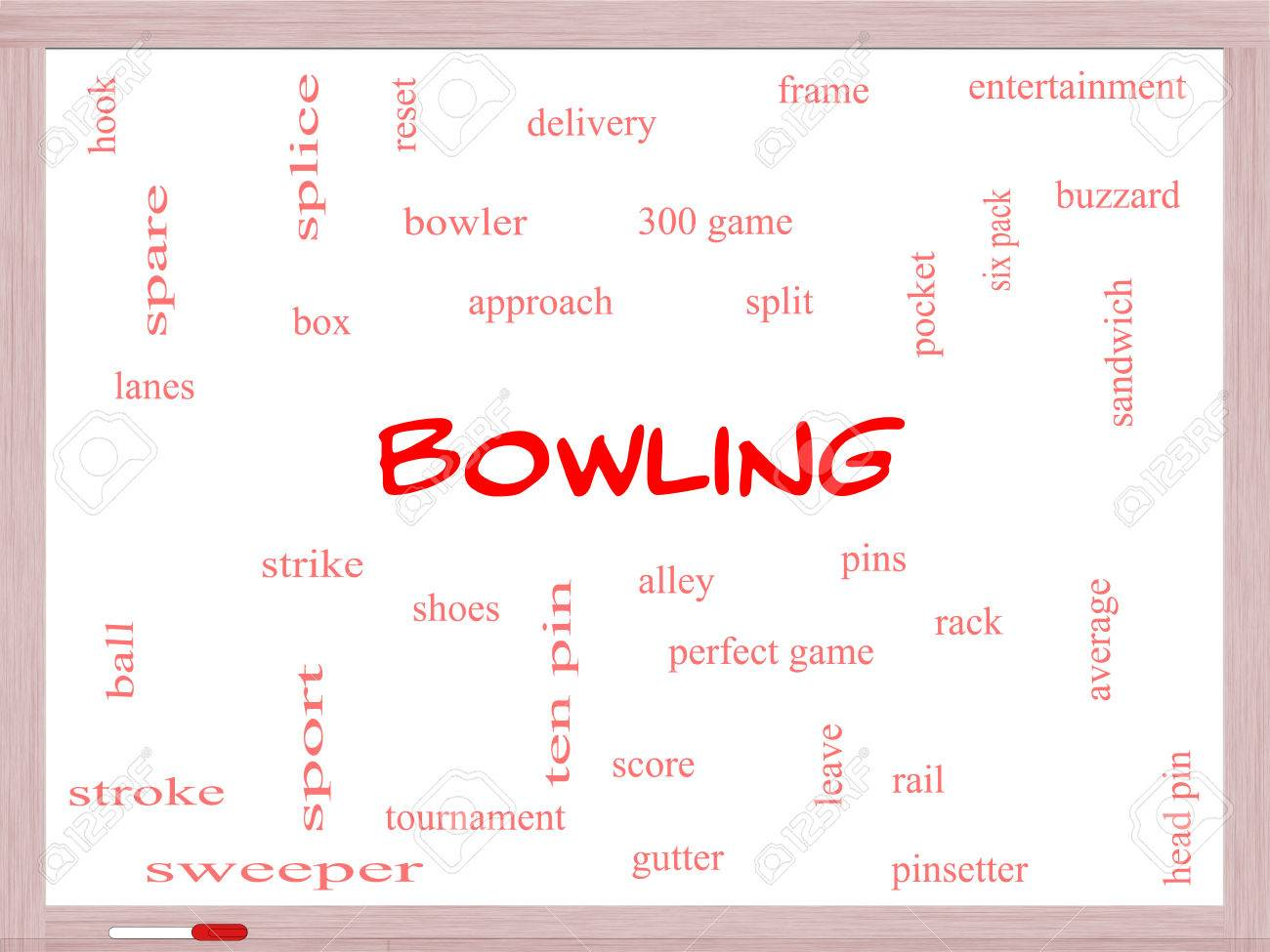 Bowling Word Cloud Concept On A Whiteboard With Great Terms Such ...