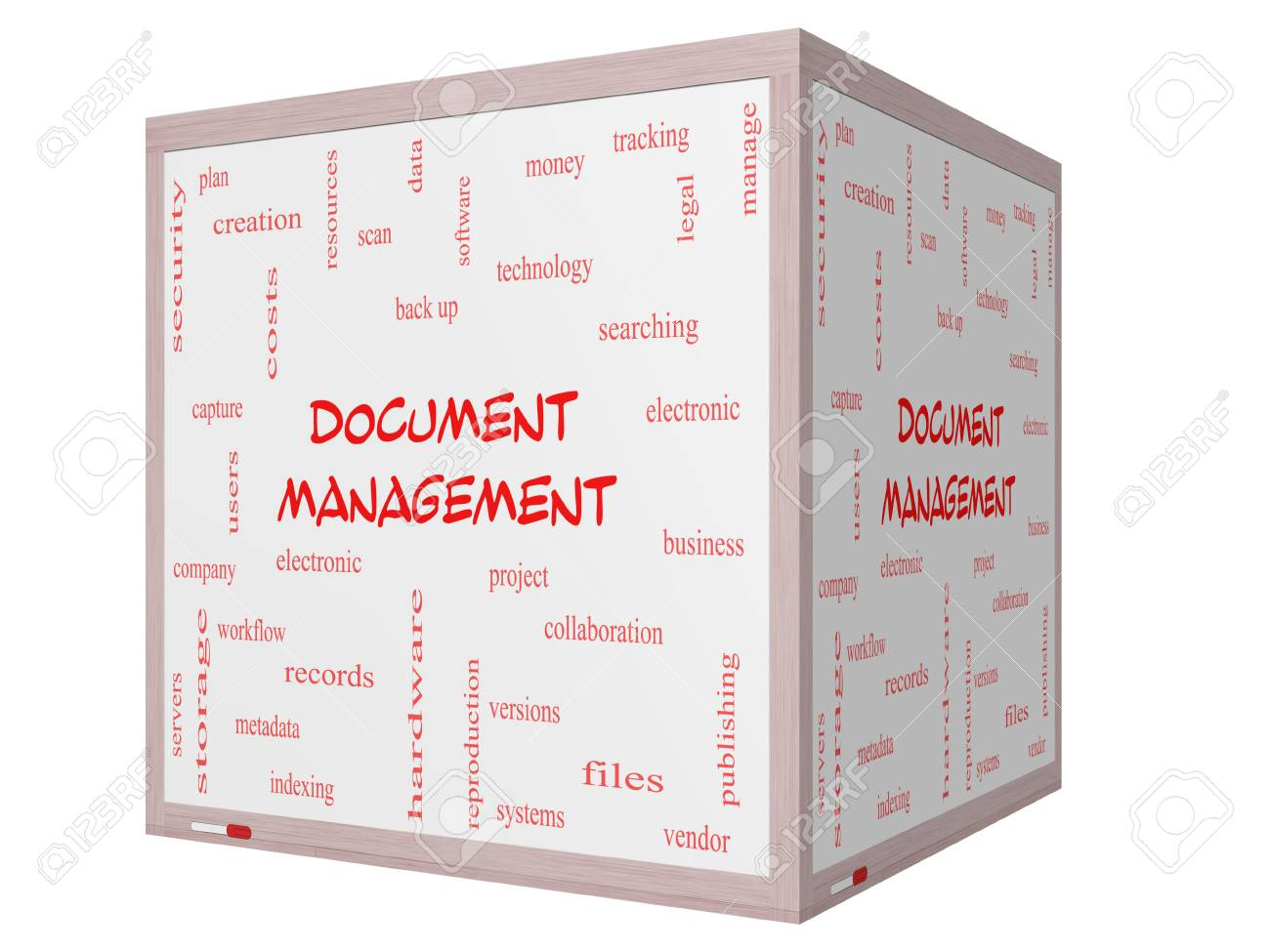 Document Management Word Cloud Concept on a 3D cube Whiteboard with great terms such as data, back up, files and more. Stock Photo - 26469806