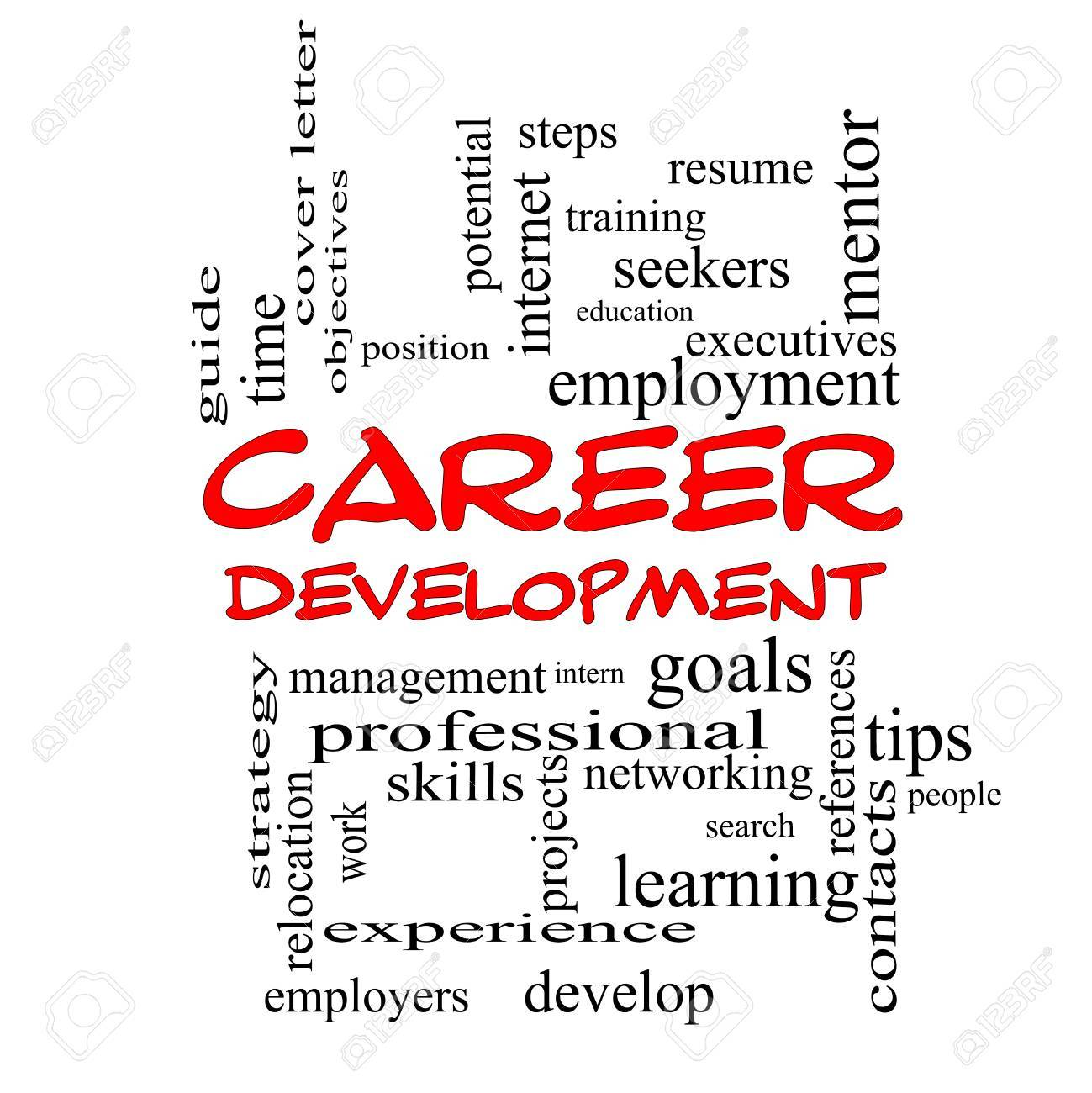 Career Development Word Cloud Concept In Red Caps With Great Stock