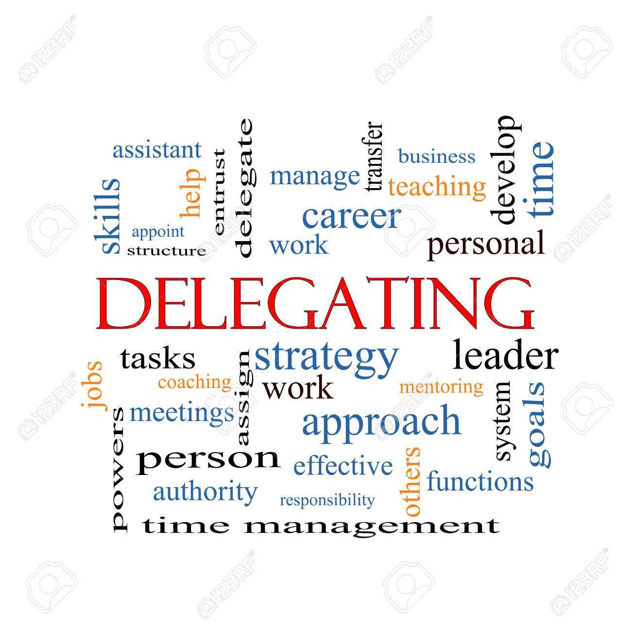 Delegating Word Cloud Concept with great terms such as work, tasks, jobs and more. - 26443337