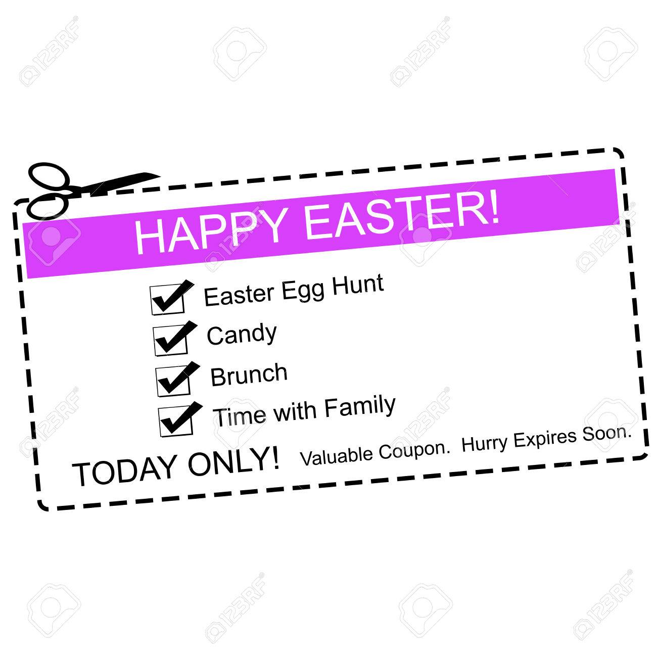 a purple white and black happy easter coupon making a great stock