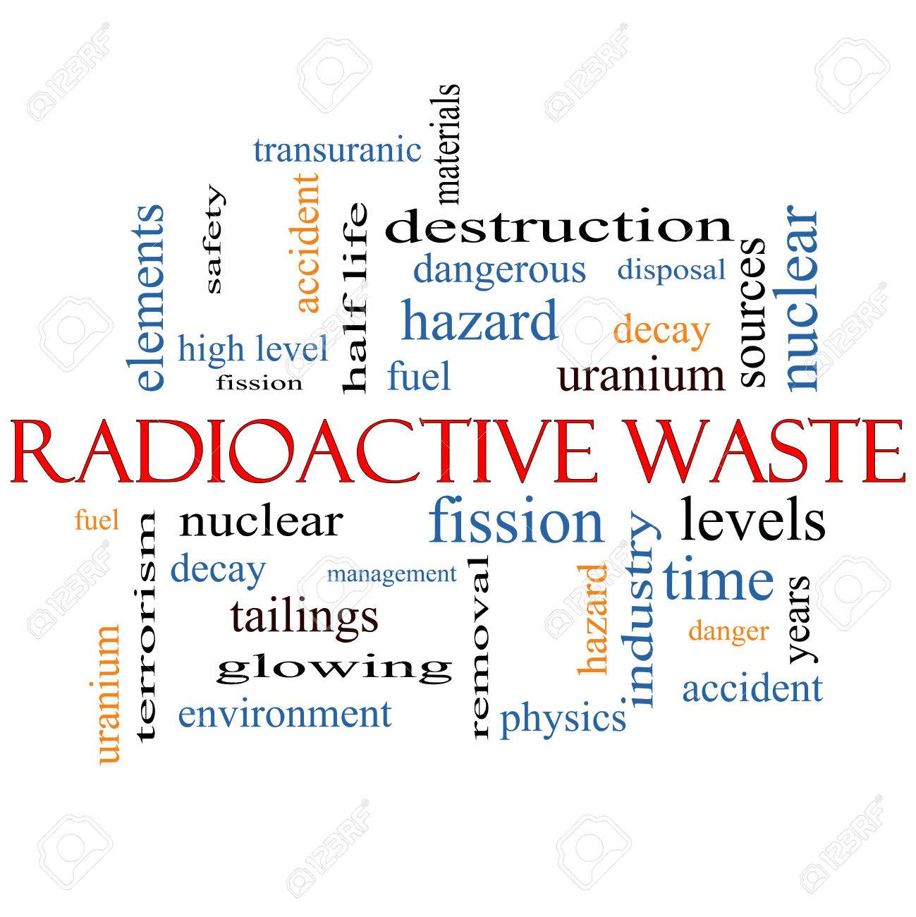 Radioactive Waste Word Cloud Concept with great terms such as fission, nuclear, fuel and more. Stock Photo - 26839236