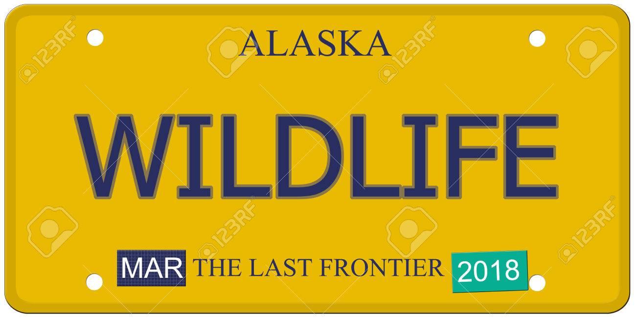 Eine Nachahmung Alaska-Kfz-Kennzeichen Mit Dem Wort Tierwelt Und Die ...