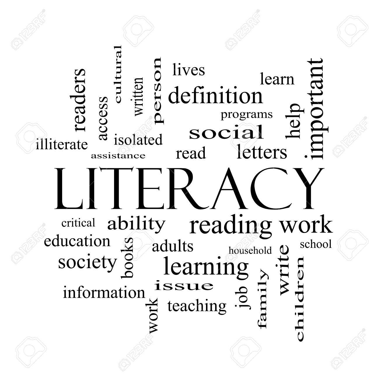 literacy word cloud concept in black and white with great terms