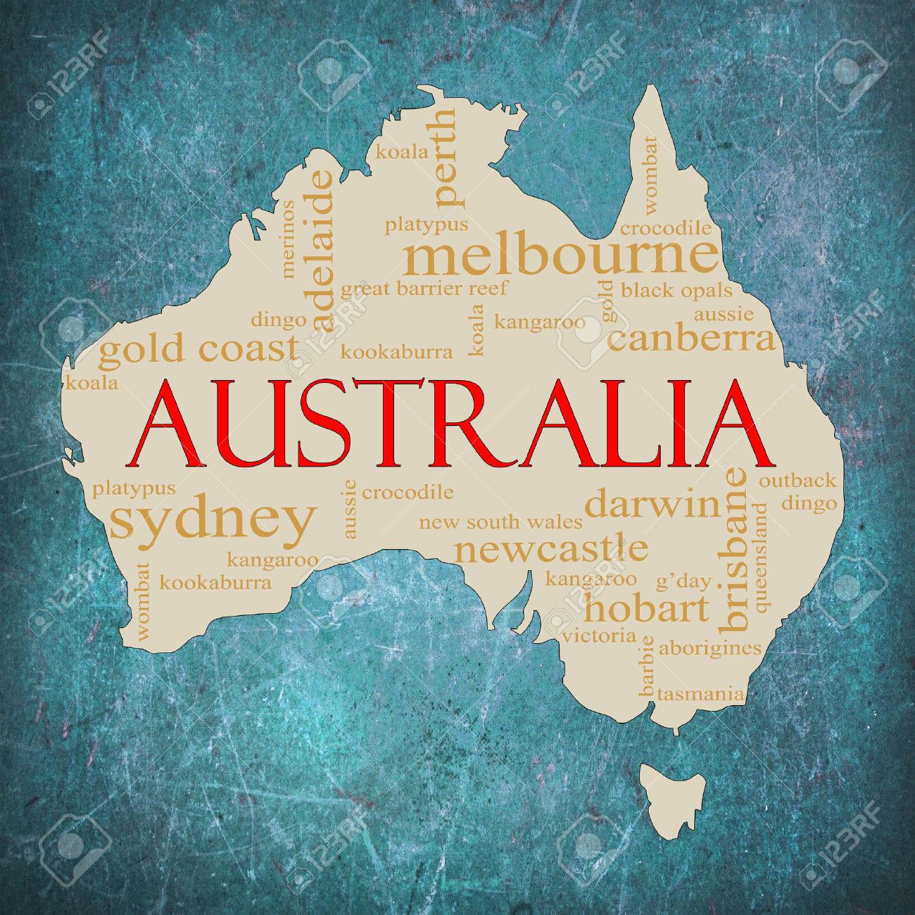 Map Around Australia.A Map Of Australia On A Blue Grunge Background With Different