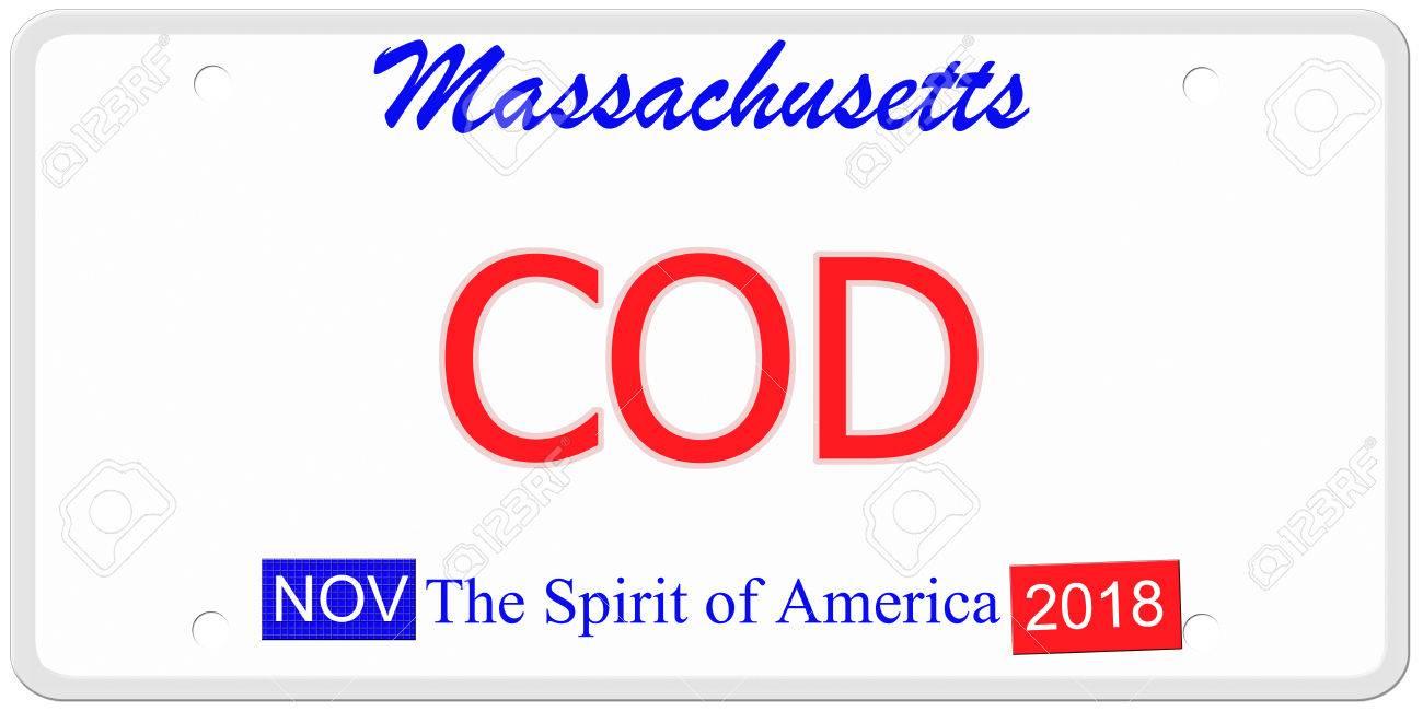 Eine Nachahmung Massachusetts Kfz-Kennzeichen Mit Dem Wort COD Macht ...