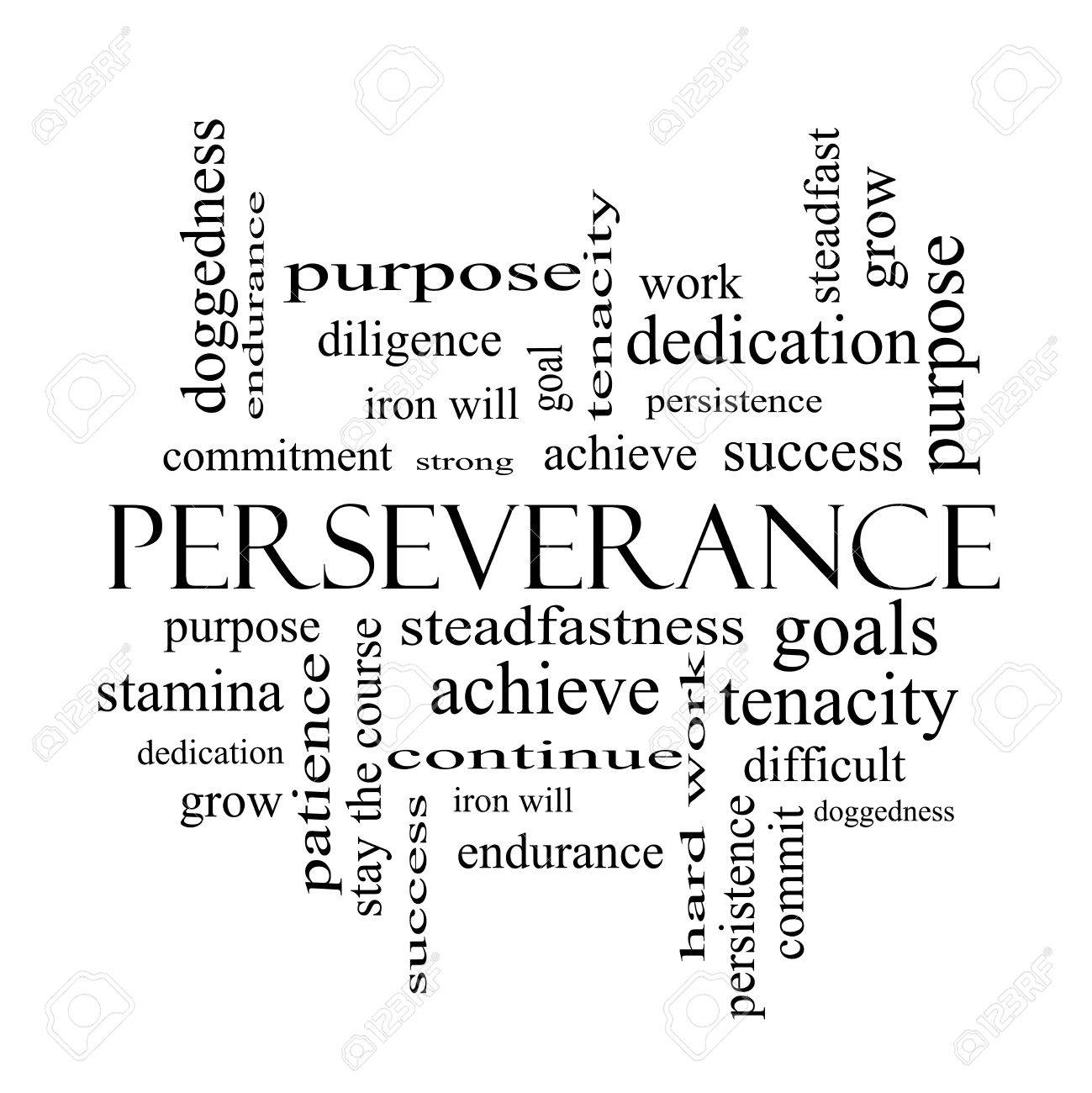 perseverance word cloud concept in black and white with great