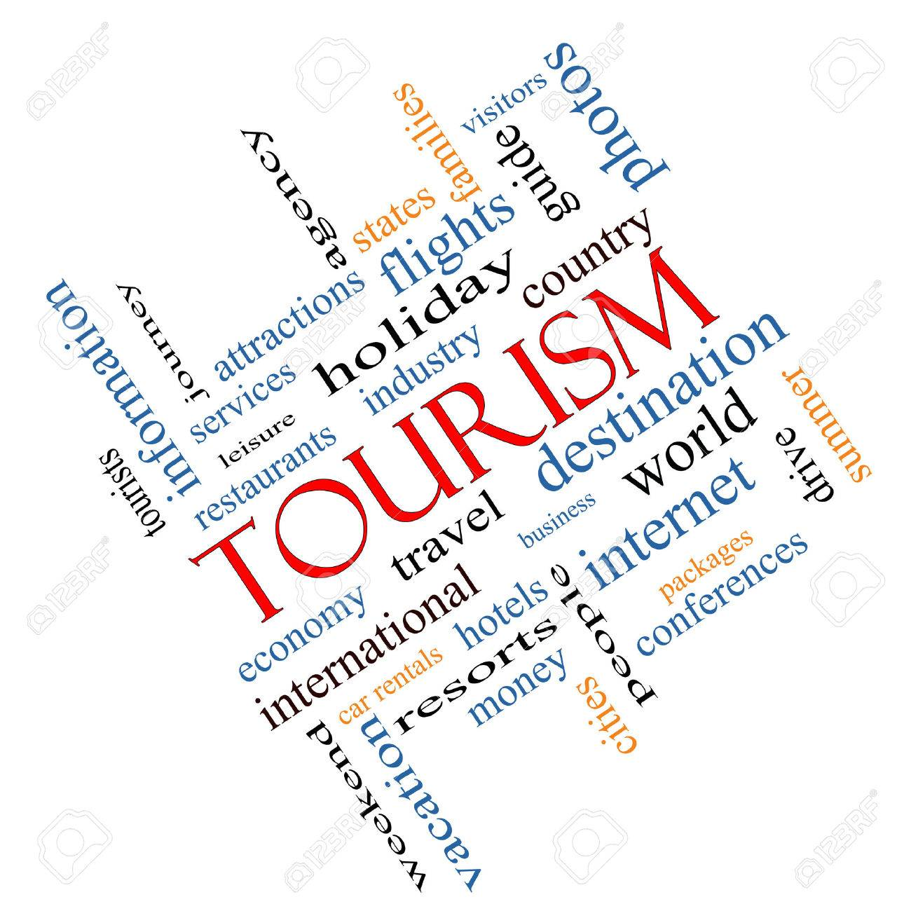 Tourism Word Cloud Concept angled with great terms such as travel, industry, world and more. Stock Photo - 27553833