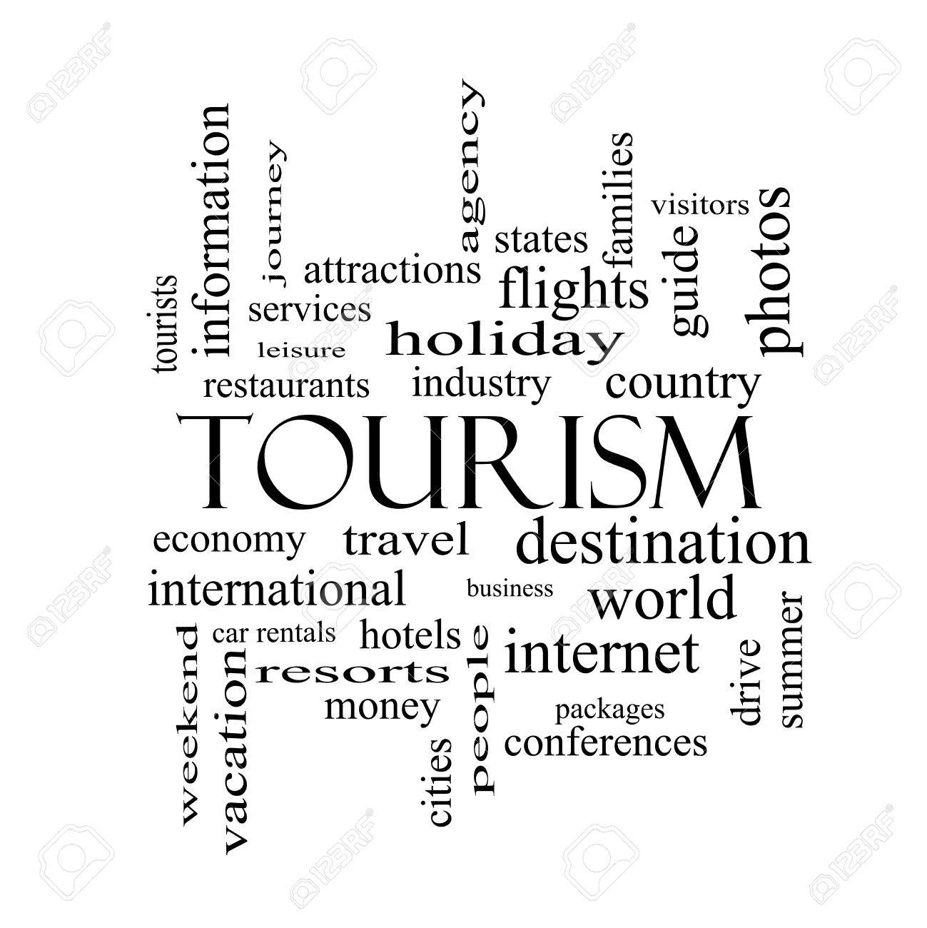 Tourism Word Cloud Concept In Black And White With Great Terms