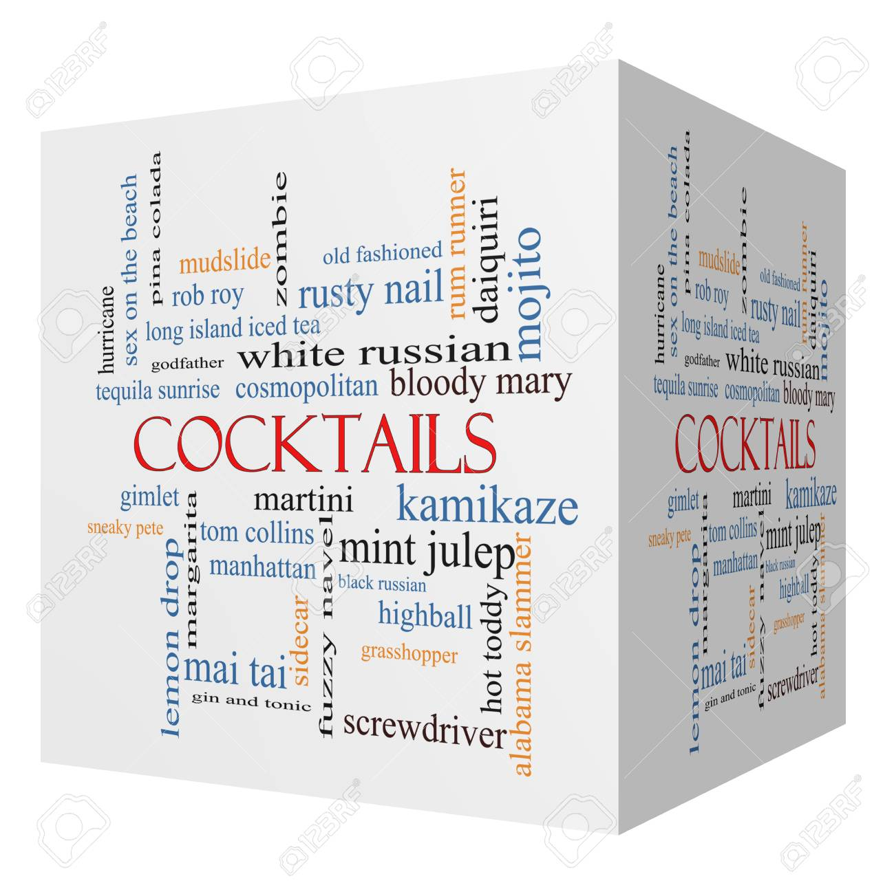 Cocktails 3D cube Word Cloud Concept with great terms such as