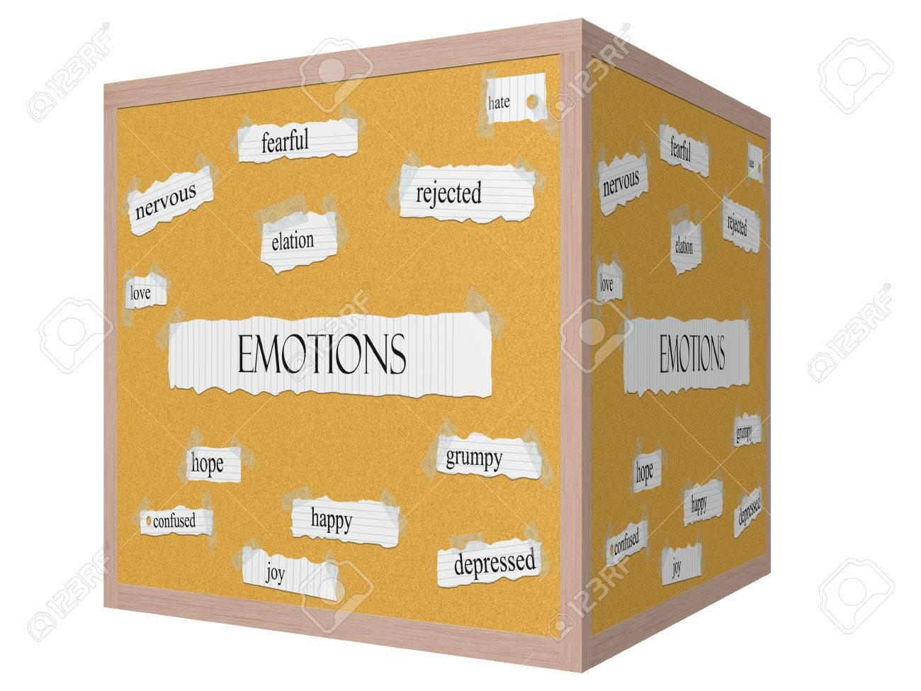 Emotion 3d Würfel Corkboard Word Konzept Mit Großen Begriffen Wie