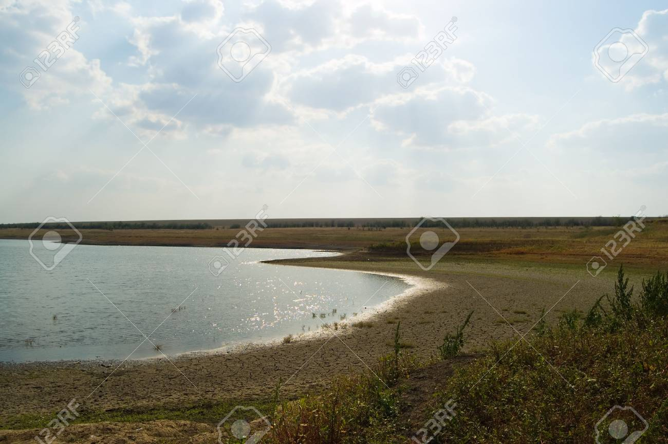 lagoon of lake with cloud on the sky contrariwise sun Stock Photo - 3596337