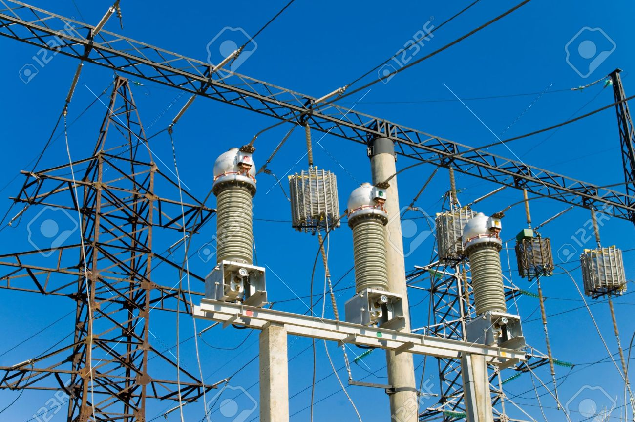 high-voltage substation on blue sky background Stock Photo - 5363876