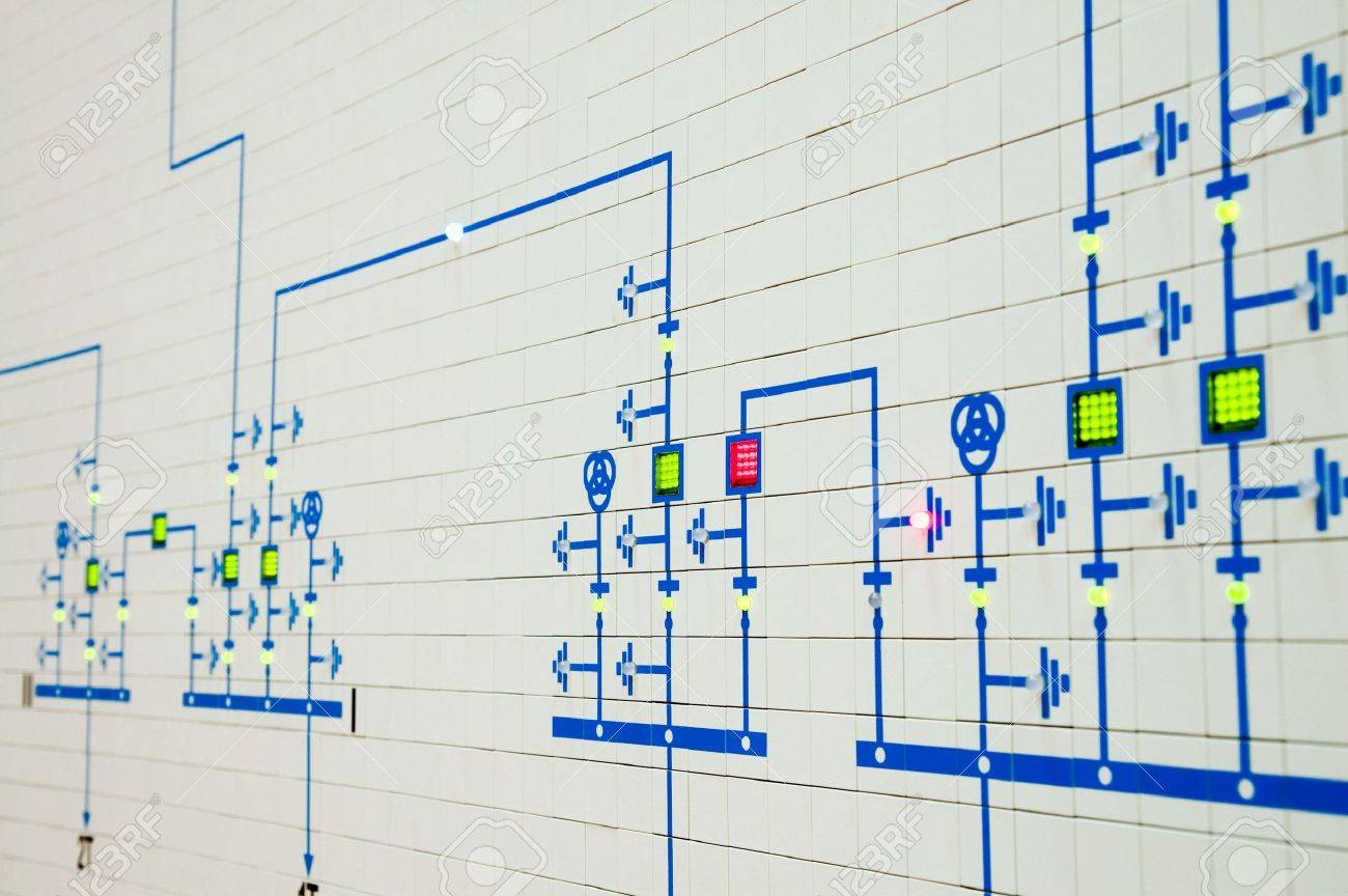 Part Of Modern Electric Scheme Is In Control Room Stock Photo ...